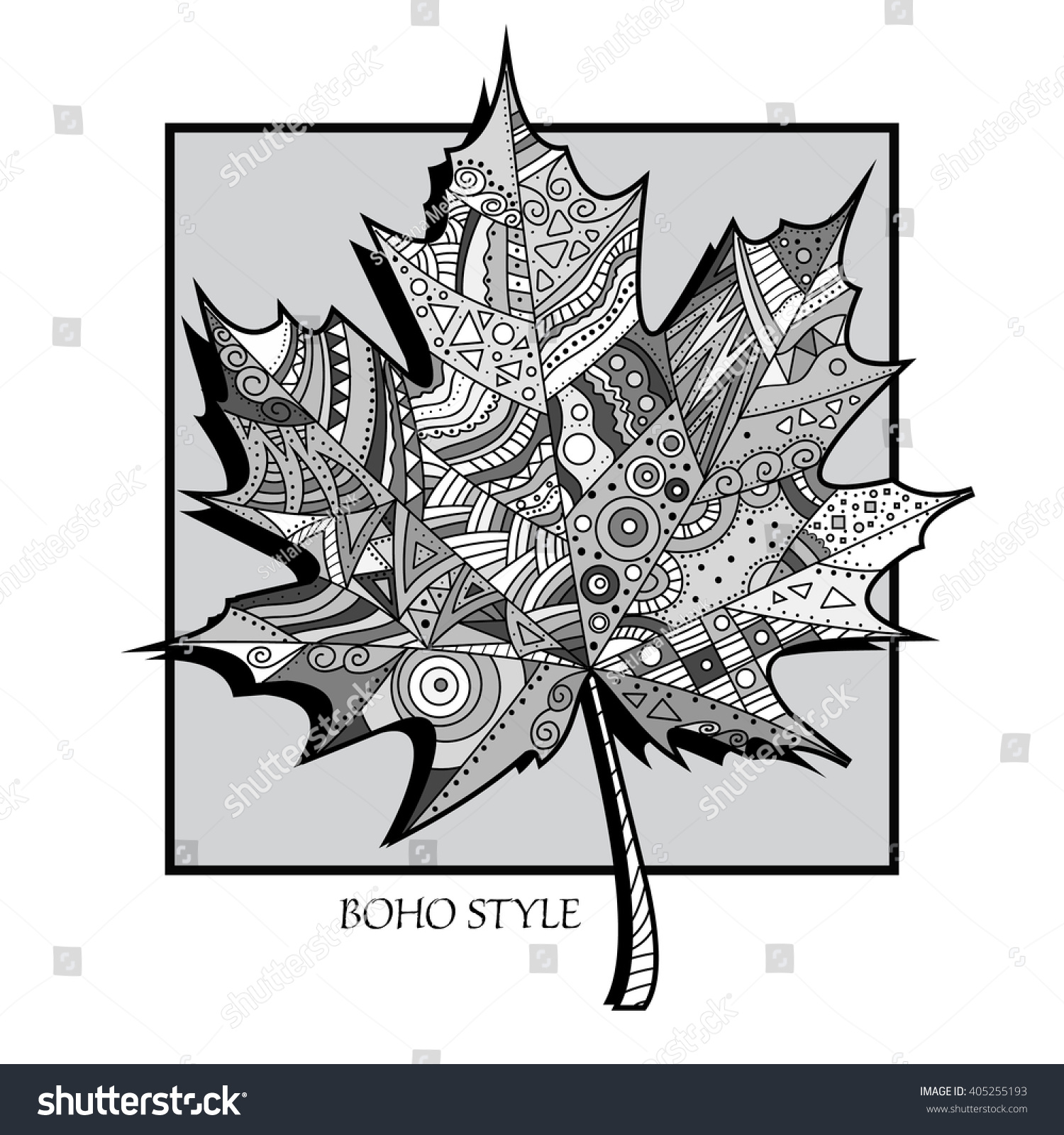 Boho Style Cover Page Coloring Book Stock Vector Royalty Free