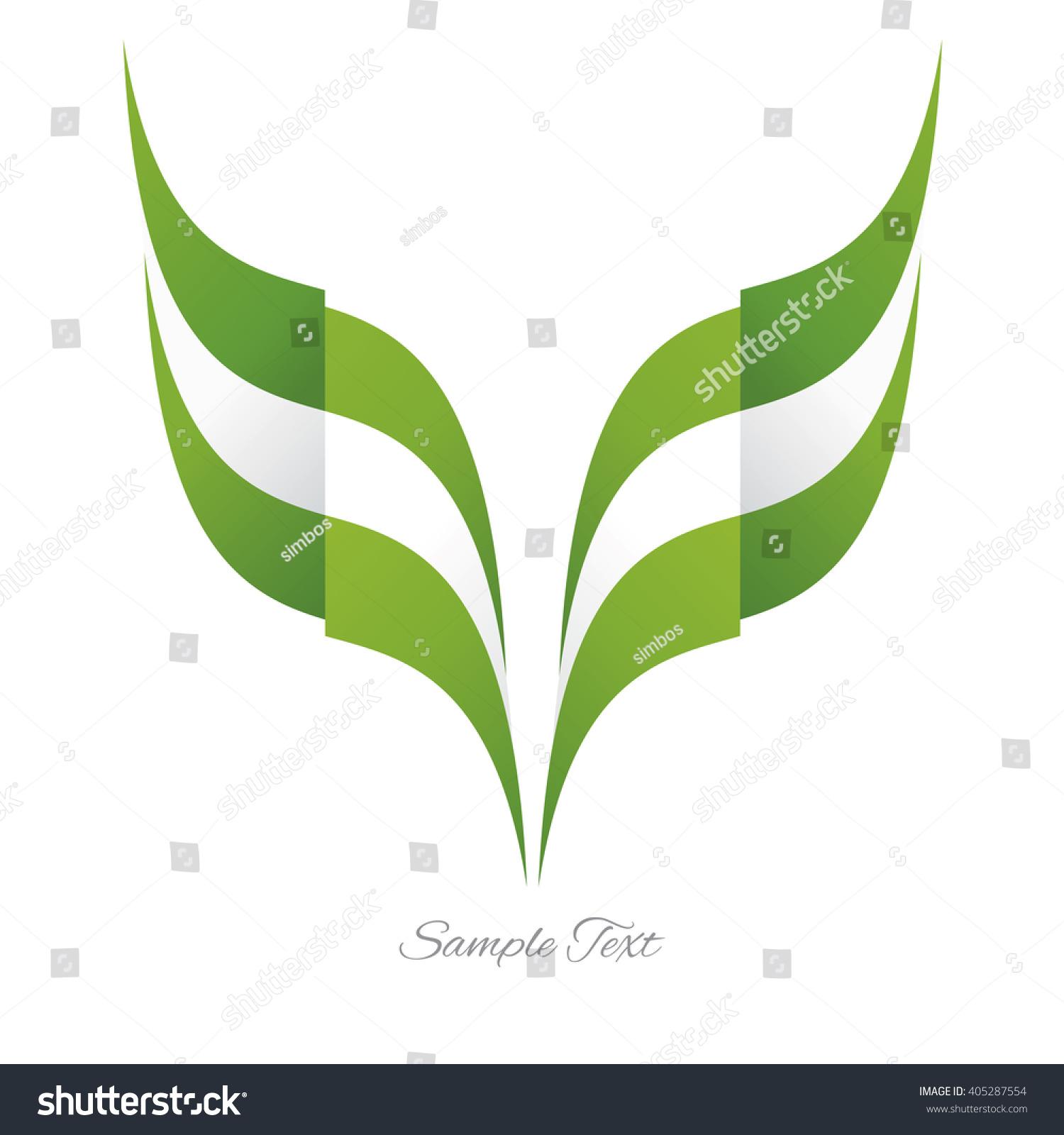 Abstract Nigerian Eagle Flag Ribbon Logo Stock Vector