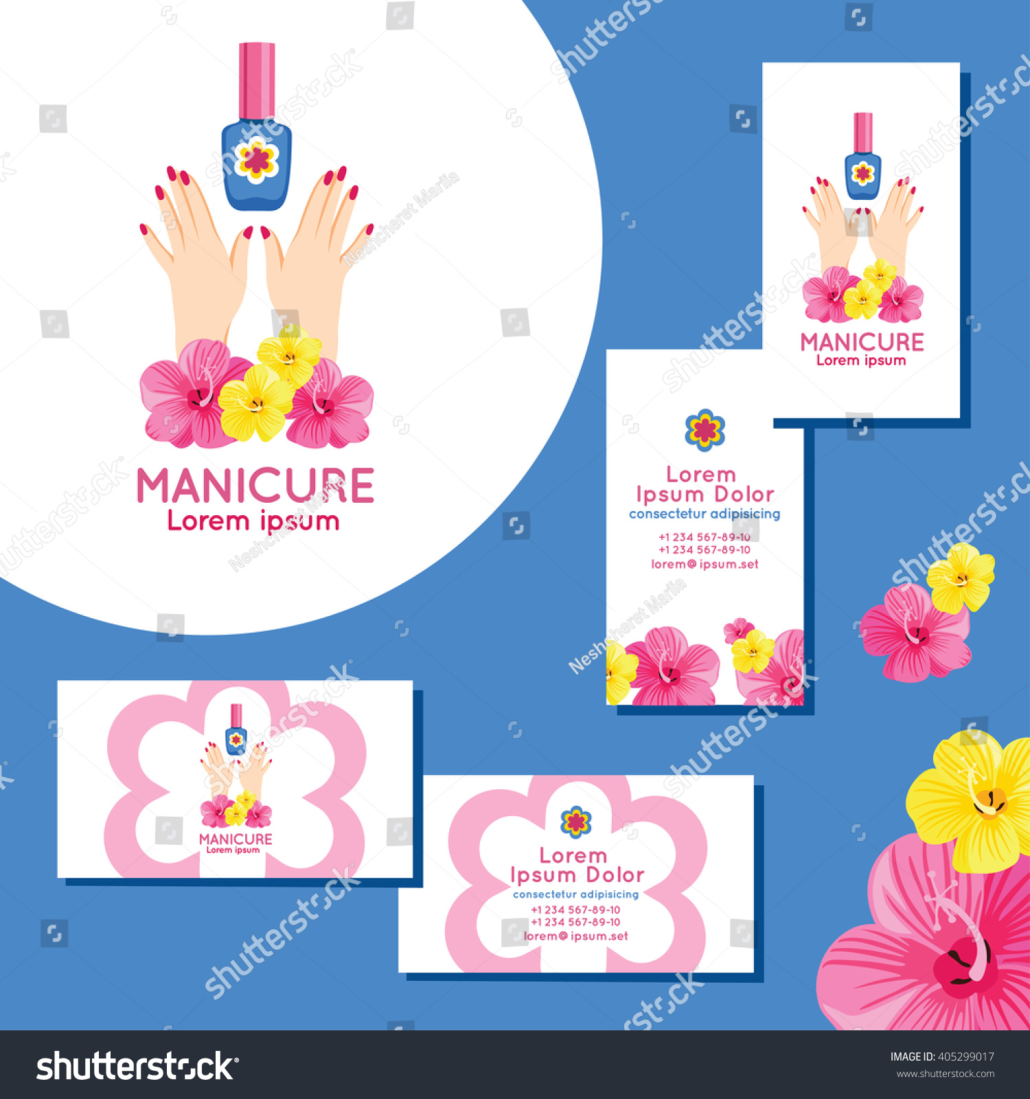 Manicure Logo Set Business Cards Manicure Stock Vector 405299017 ...