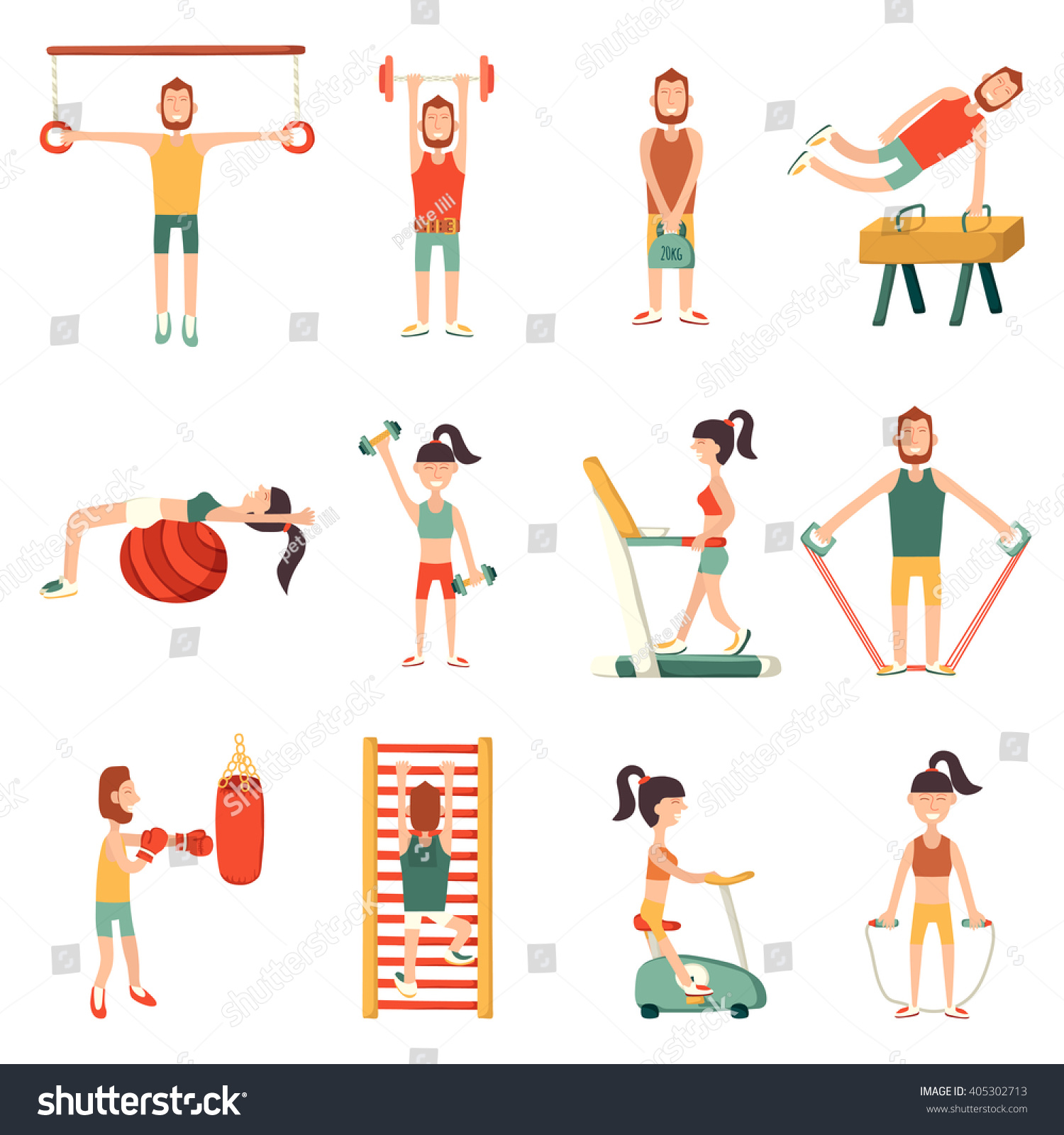 Vector Illustration Cartoon Characters Gym Equipment Stock ...