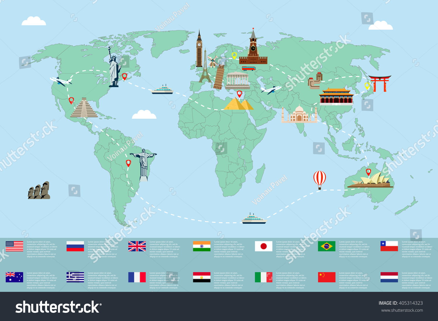 World map famous landmarks travel tourism stock vector for Special landmarks