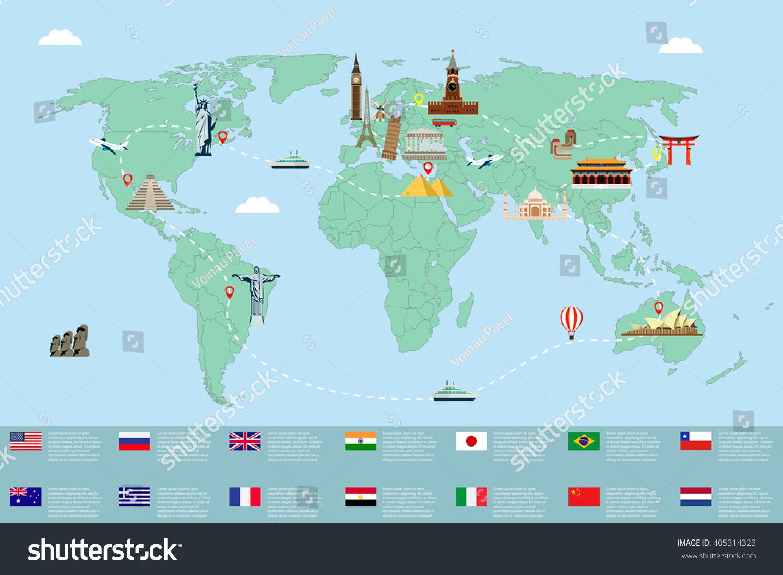 World Map Famous Landmarks Travel Tourism Stock Vector - Usa map and landmarks