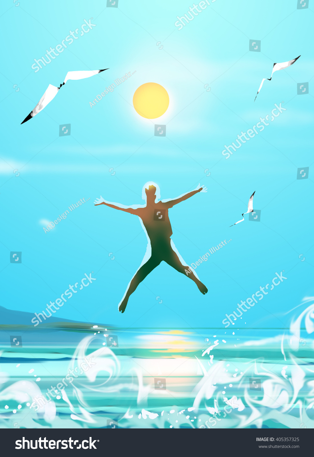Hello Summer Holiday Poster. Happy Boy Jumping. Brazil Sea Beach. Rio Sea  Party