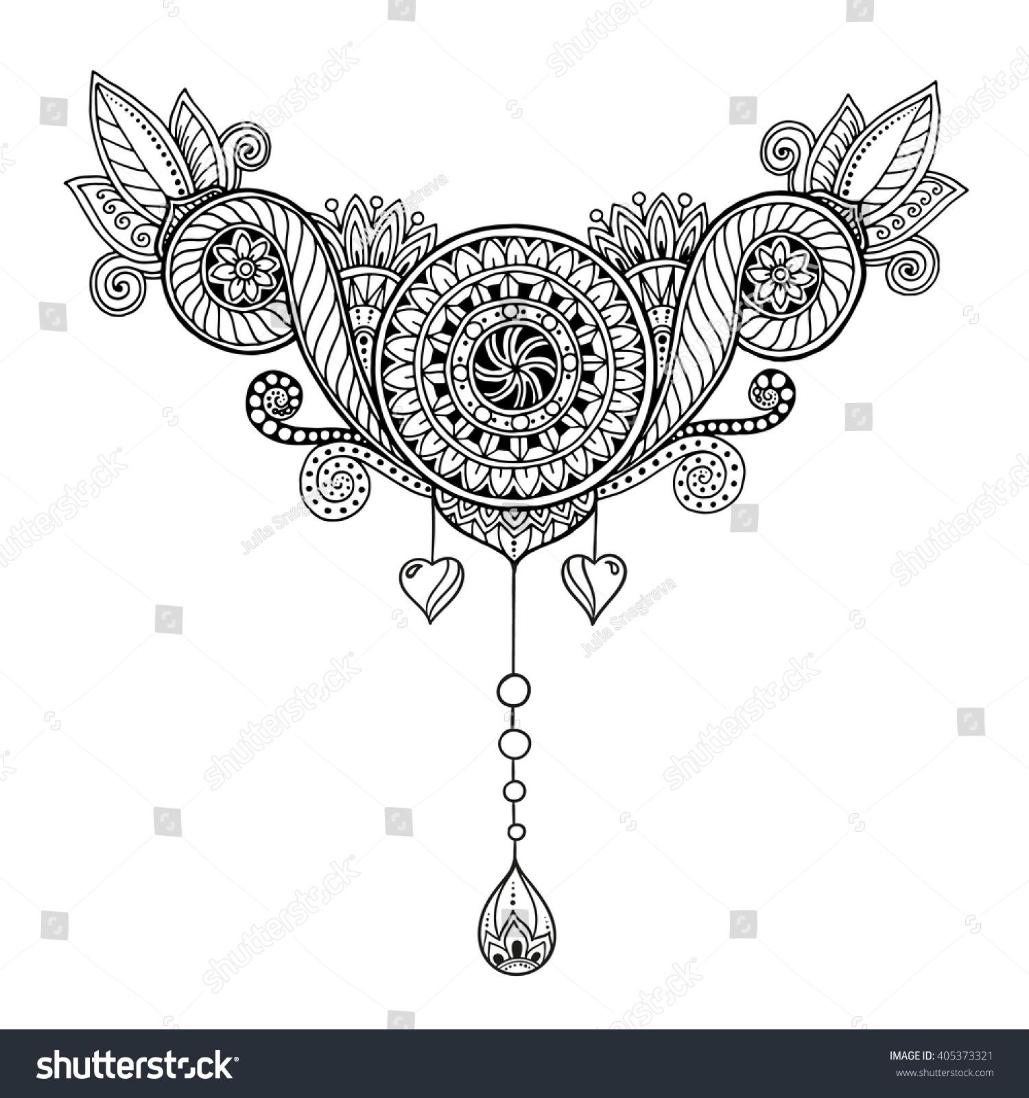 Mehndi Zentangle : Ethnic floral zentangle doodle background pattern in