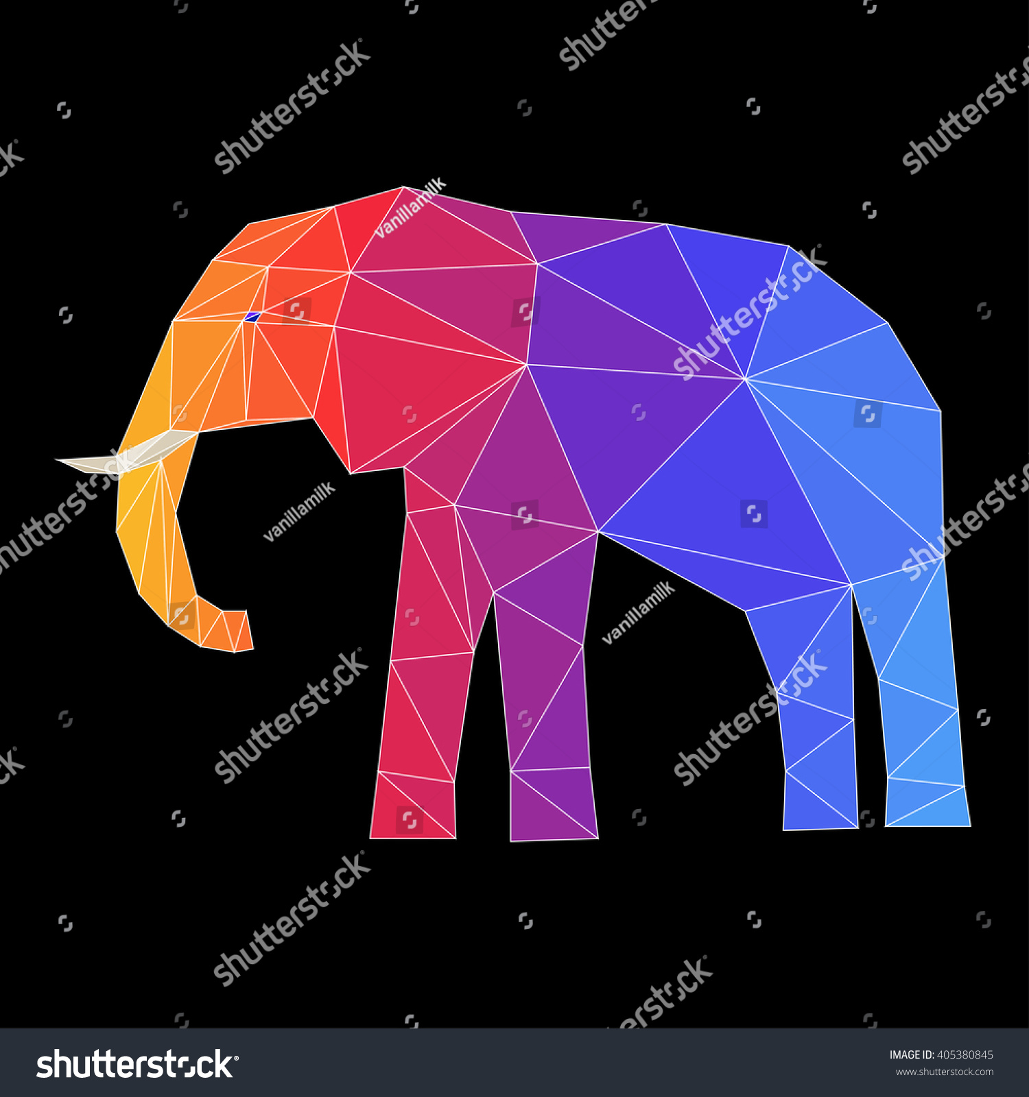 abstract polygonal elephant geometric triangle low stock vector