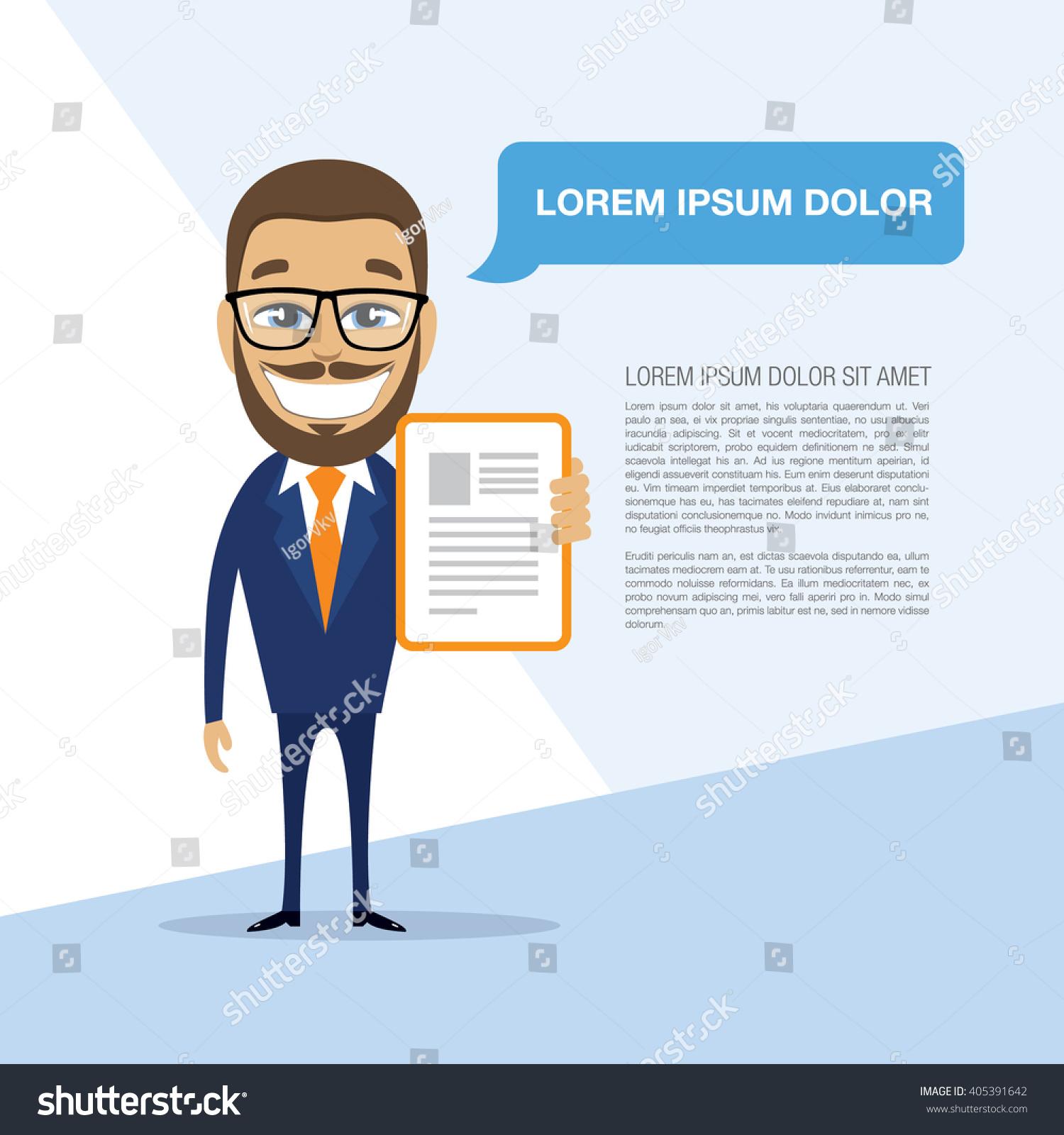 Happy Successful Businessman Ready Resume Vector Stock Vector