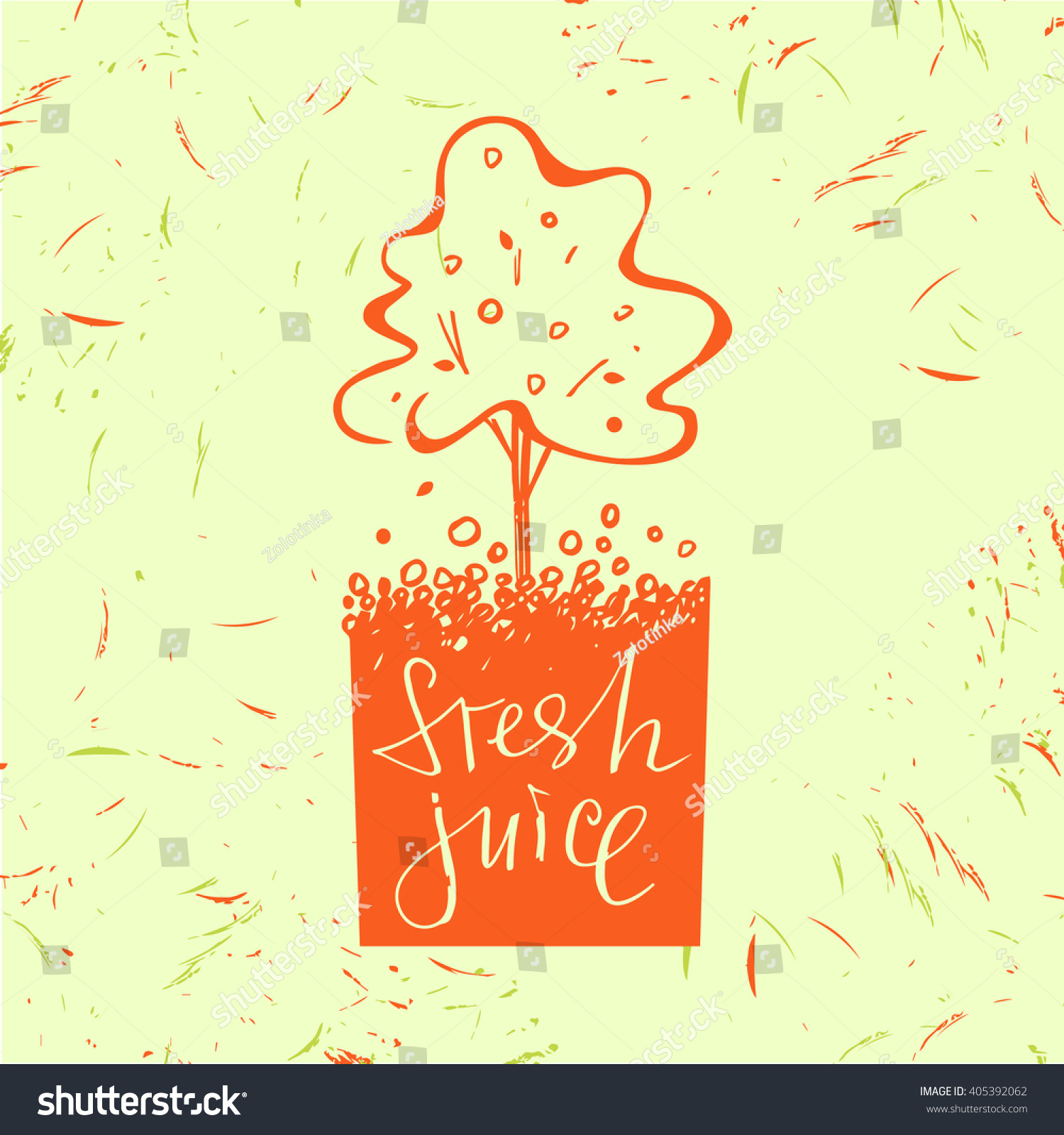 Logo Symbol Fresh Juice Fruit Tree Stock Illustration 405392062