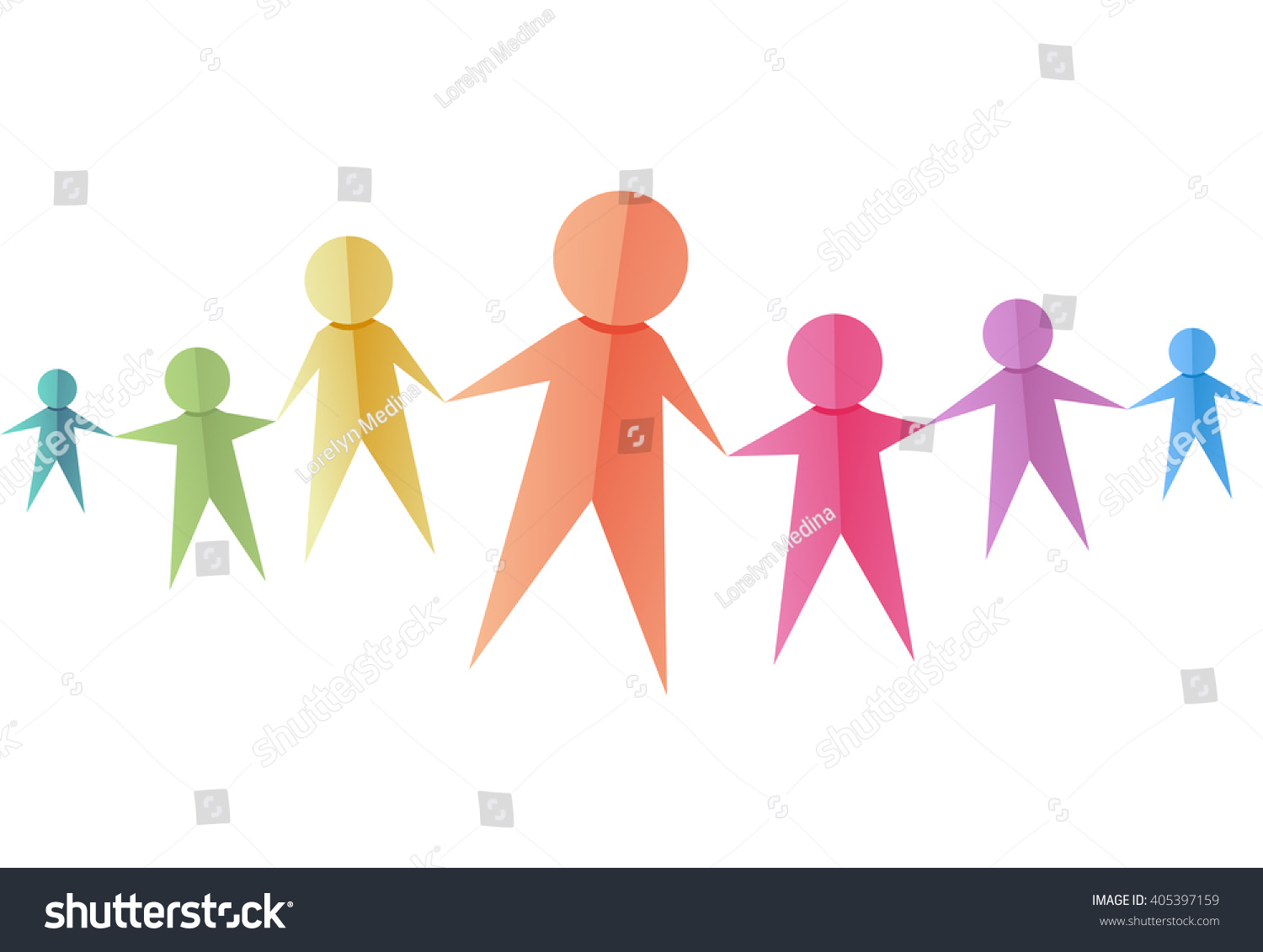 Illustration Of A Group Colorful Paper Cutouts