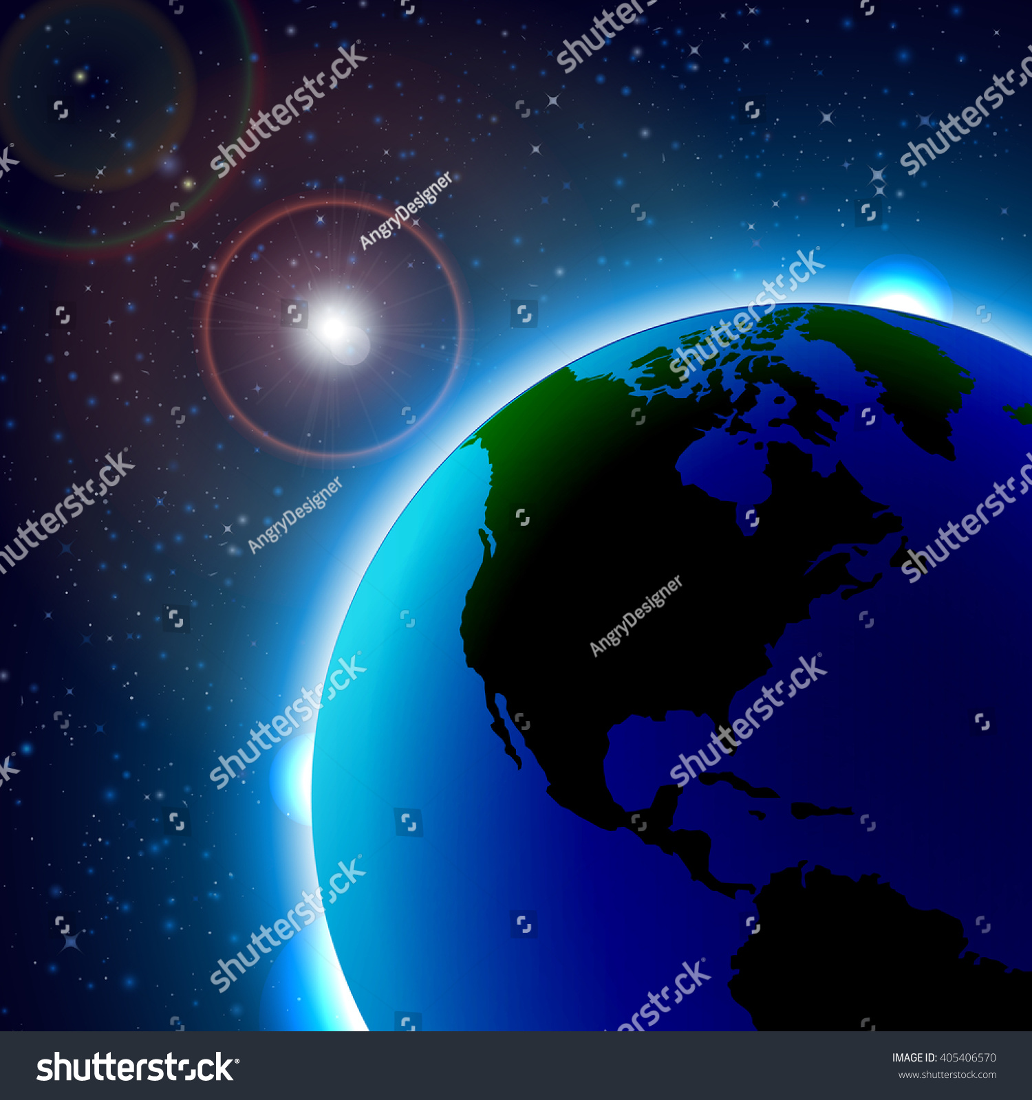 Planet Earth Sunrise Space World Map Stock Vector - World map from outer space