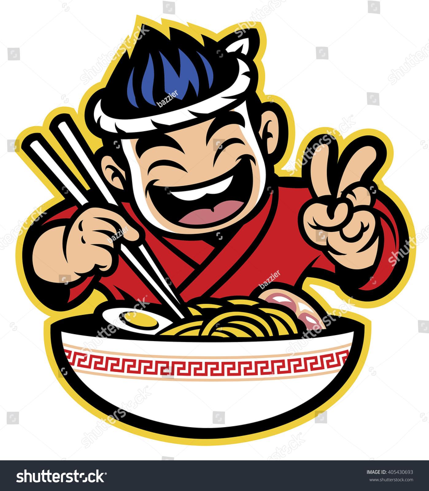 Japanese Cartoon Chef Eating Ramen Stock Vector 405430693 ...