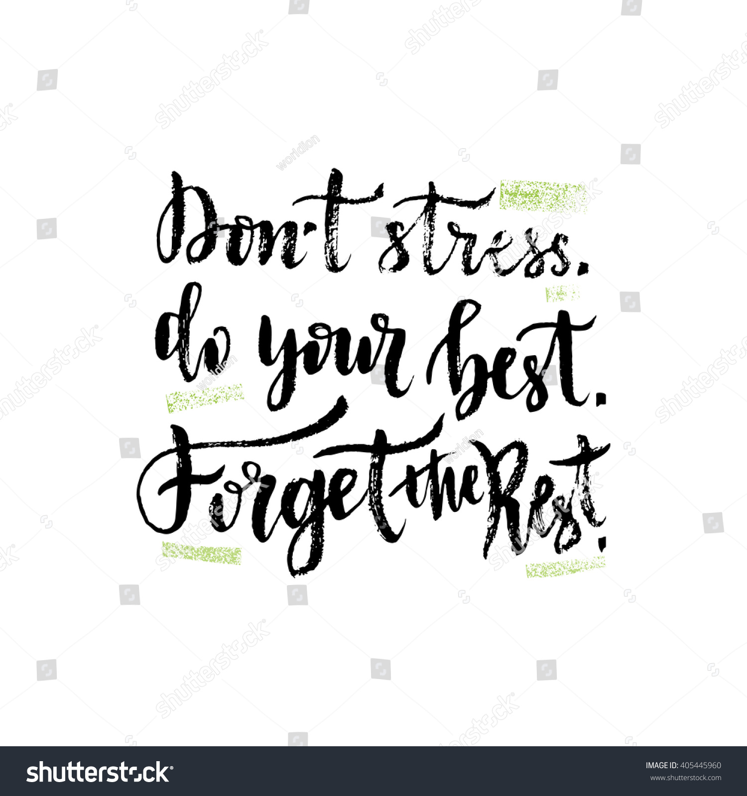 Stress Quote Vector Hand Lettering Inspirational Quote Vector Stock Vector