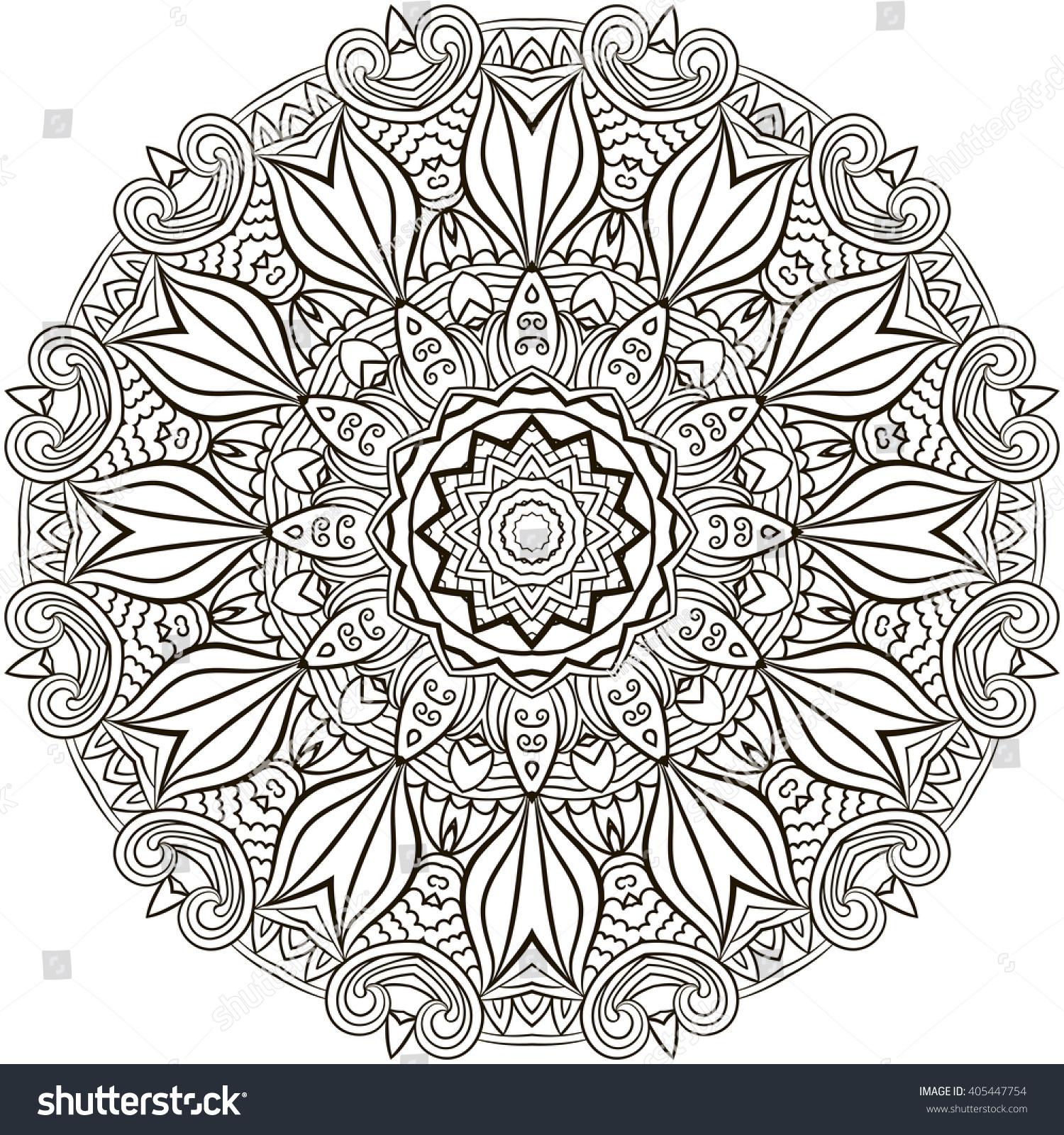 mandala coloring illustration coloring book stock vector