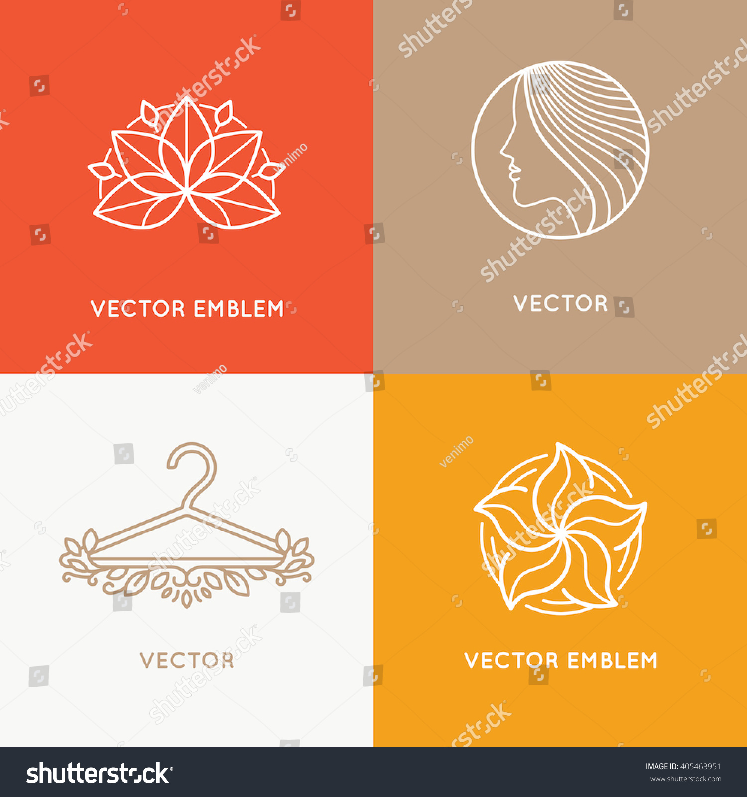 Vector set of logo design templates and emblems fashion stylist and makeup artists concepts female symbols for cosmetics and clothes shops