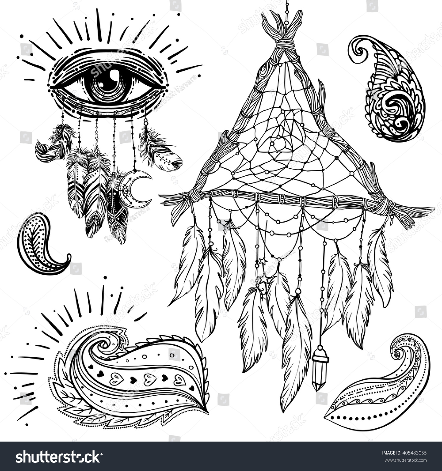 bohemian coloring pages - set of ornamental boho chic style elements vector