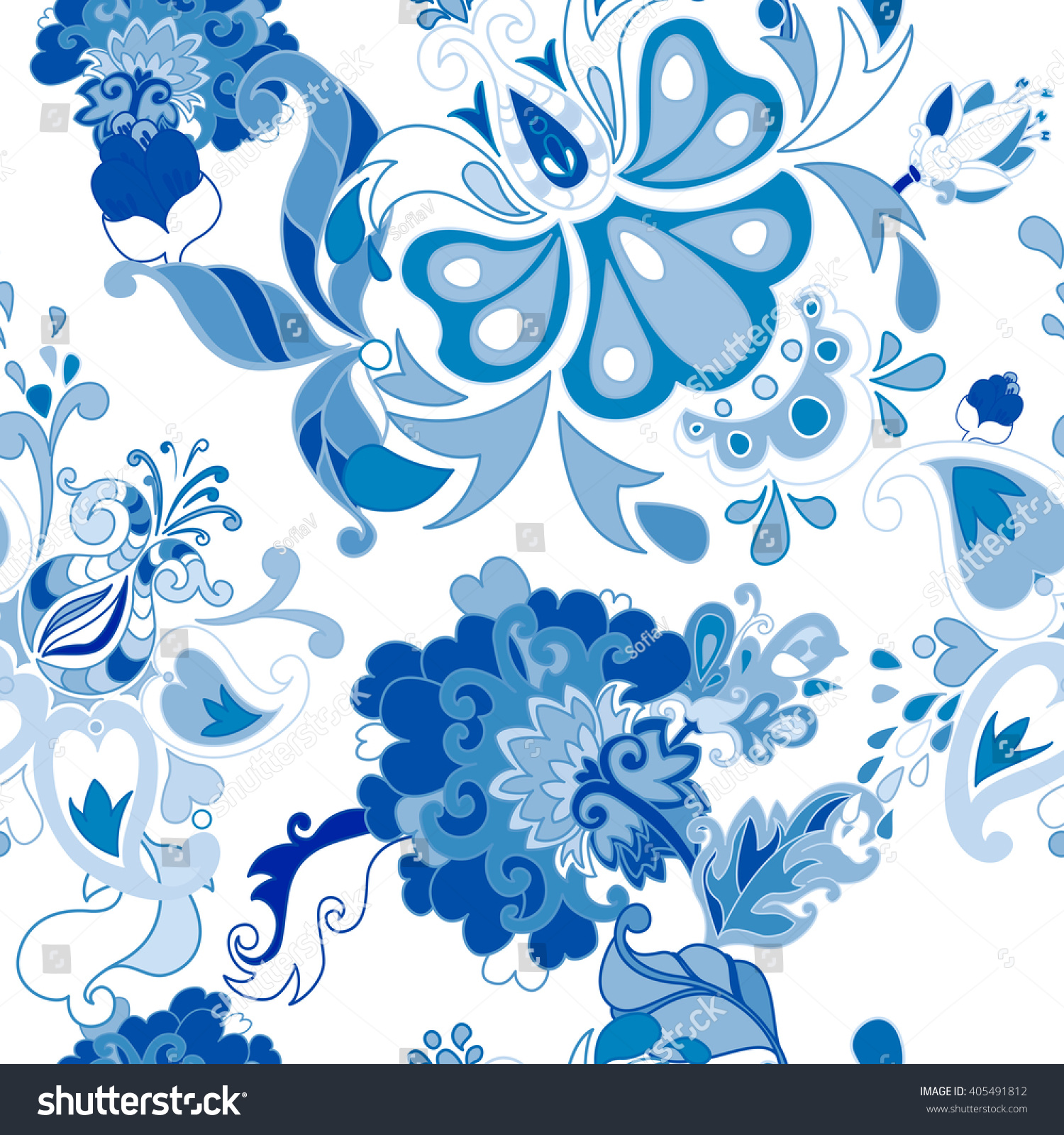 Blue Floral Seamless Background Pattern Wallpaper With Flowers Paisley Traditional Oriental