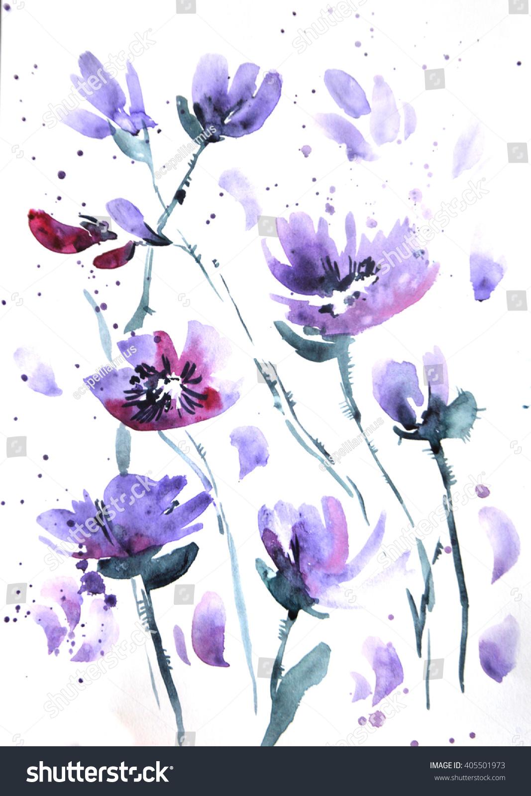 High resolution watercolor flower pattern violet flower - High resolution watercolor flowers ...