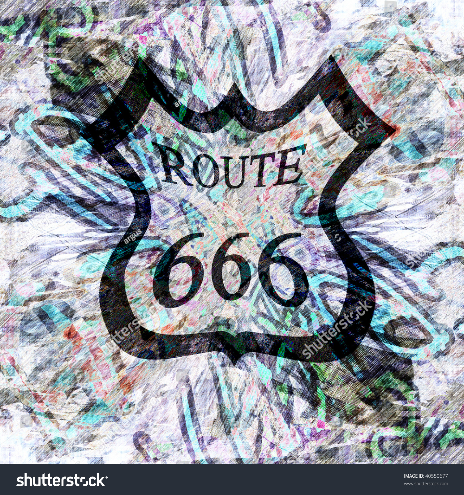 Grunge wall with graffiti and route 666 sign on it
