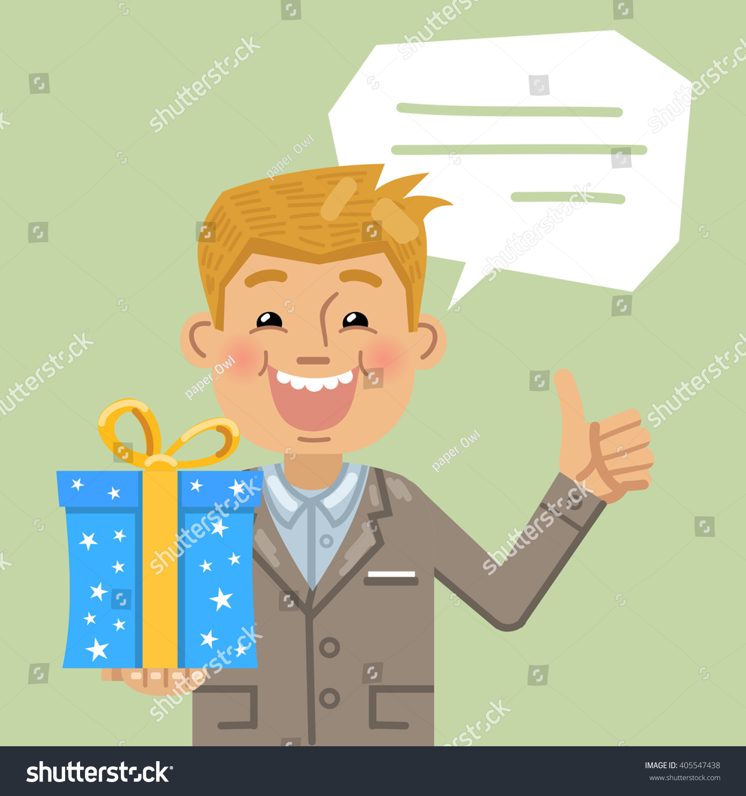 Illustration Of A Businessman With Gift Box Showing Thumb Up Gesture Birthday Party