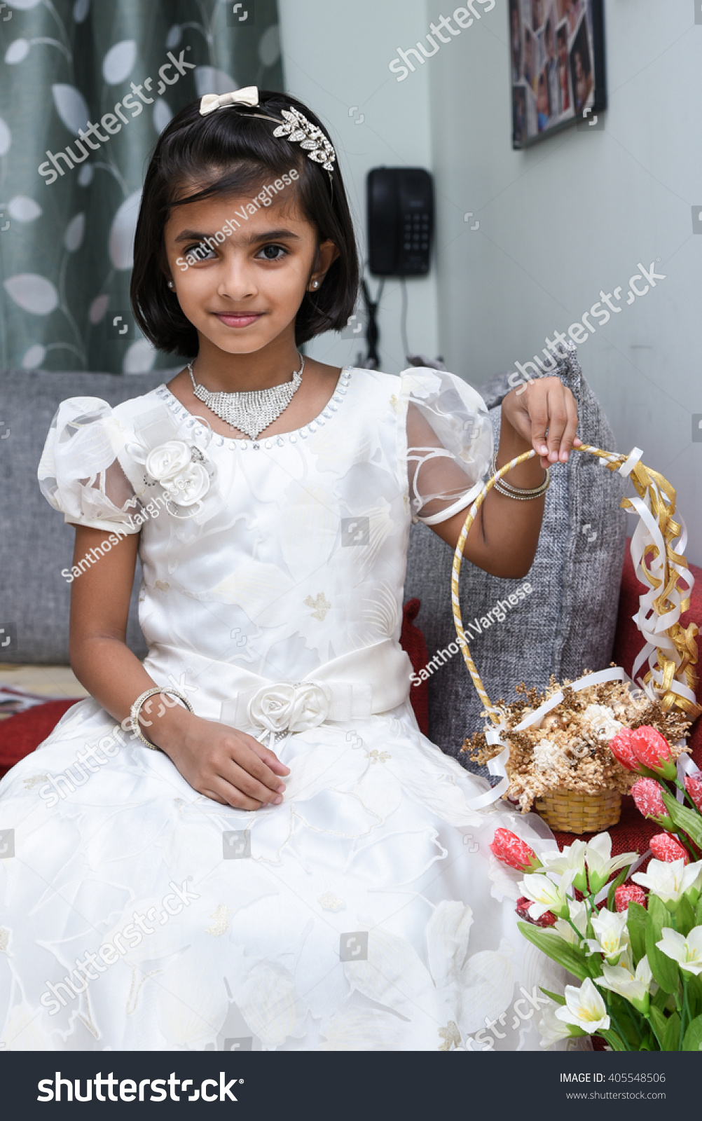 Happy Cheerful Smiling Cute Little Bridesmaid Stock Photo (Royalty ...