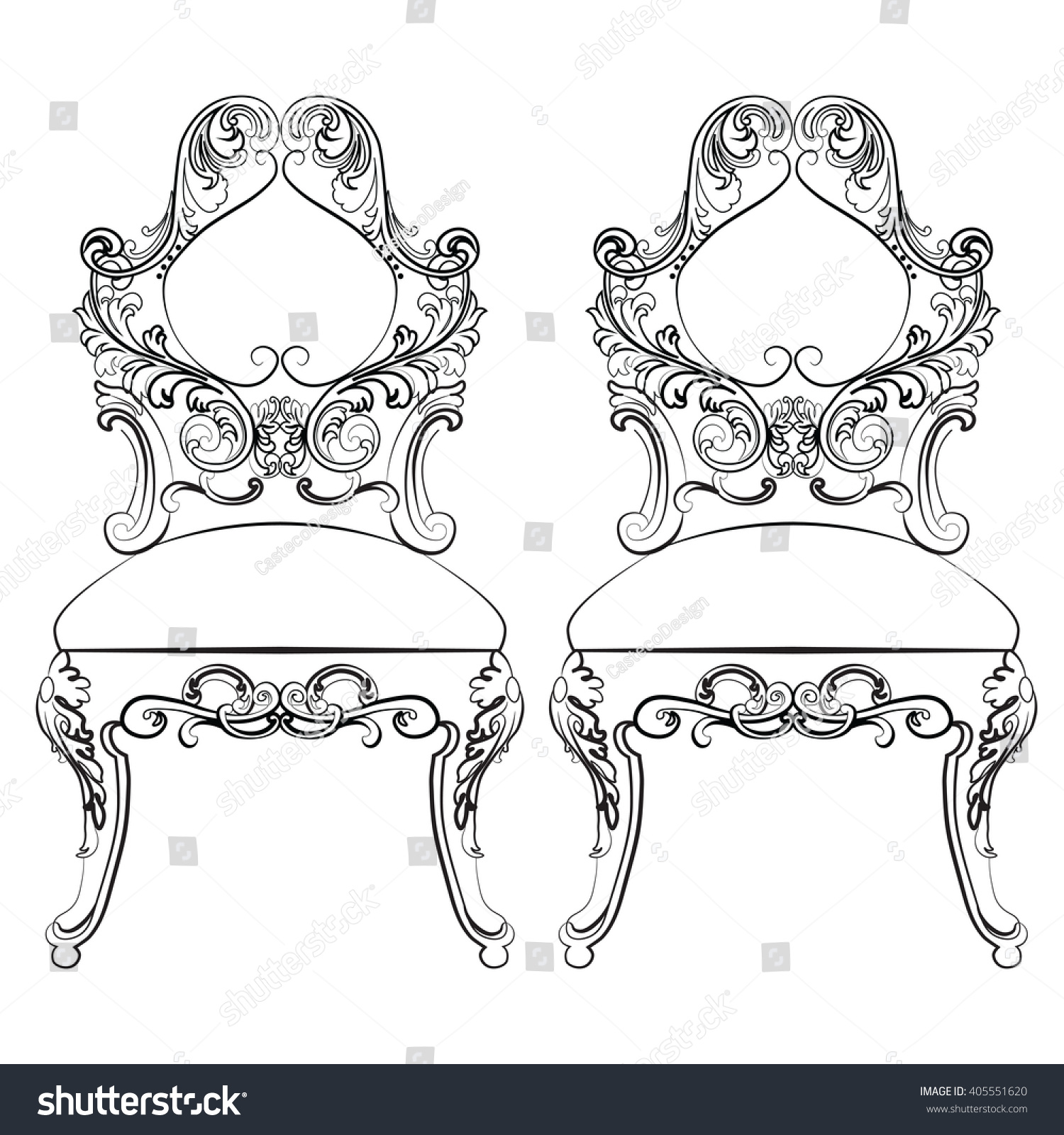 Rococo furniture sketch - Chairs Furniture Classic Set With Rich Baroque Ornaments Vector Sketch