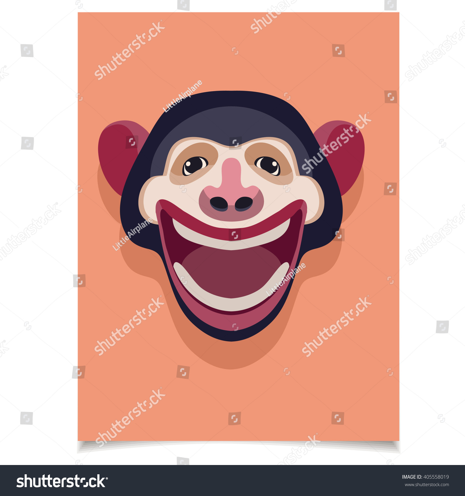 Template Set With Smiling Monkey Head For Placards Brochures