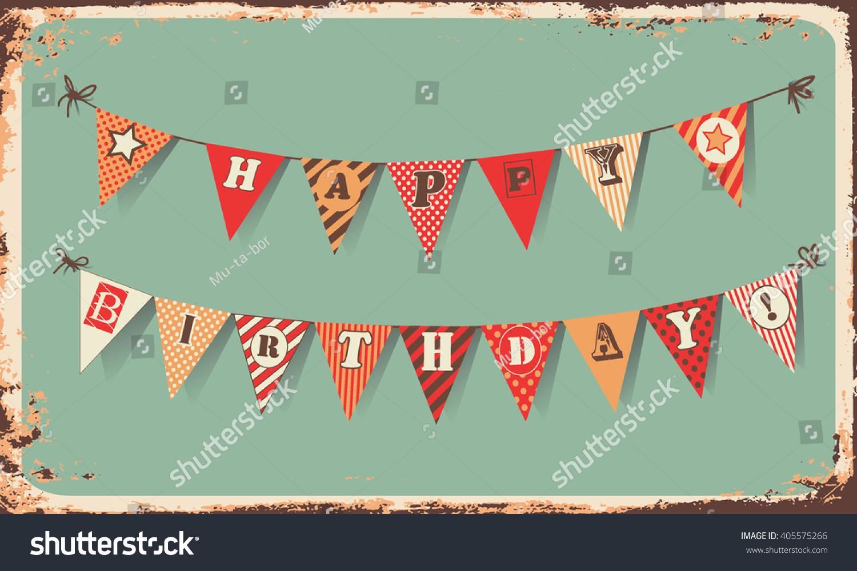 Vintage Happy Birthday Card Festive Banner Vector 405575266 – Vintage Happy Birthday Cards