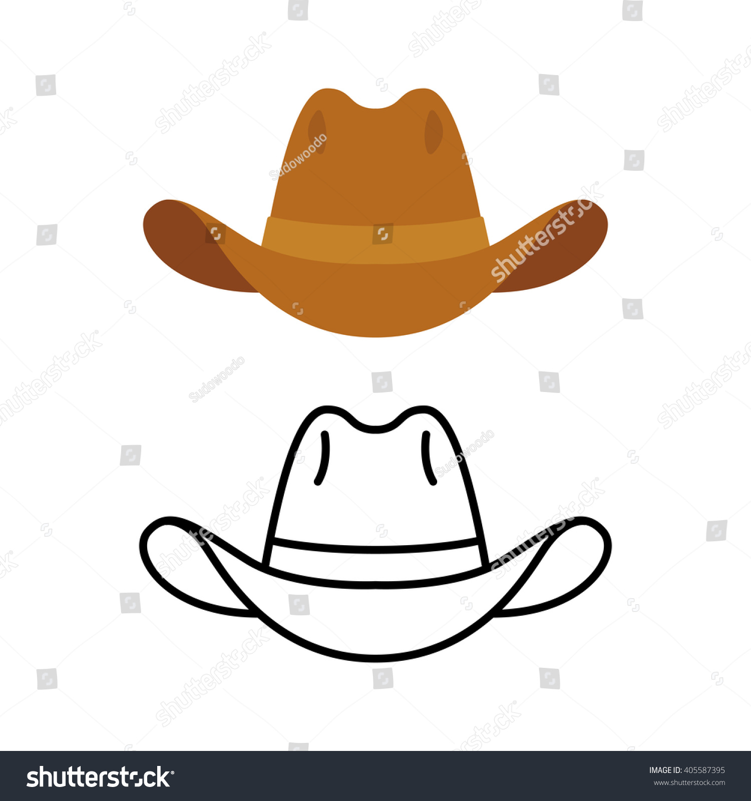 Line Drawing Hat : Cowboy hat icon two variants flat stock vector