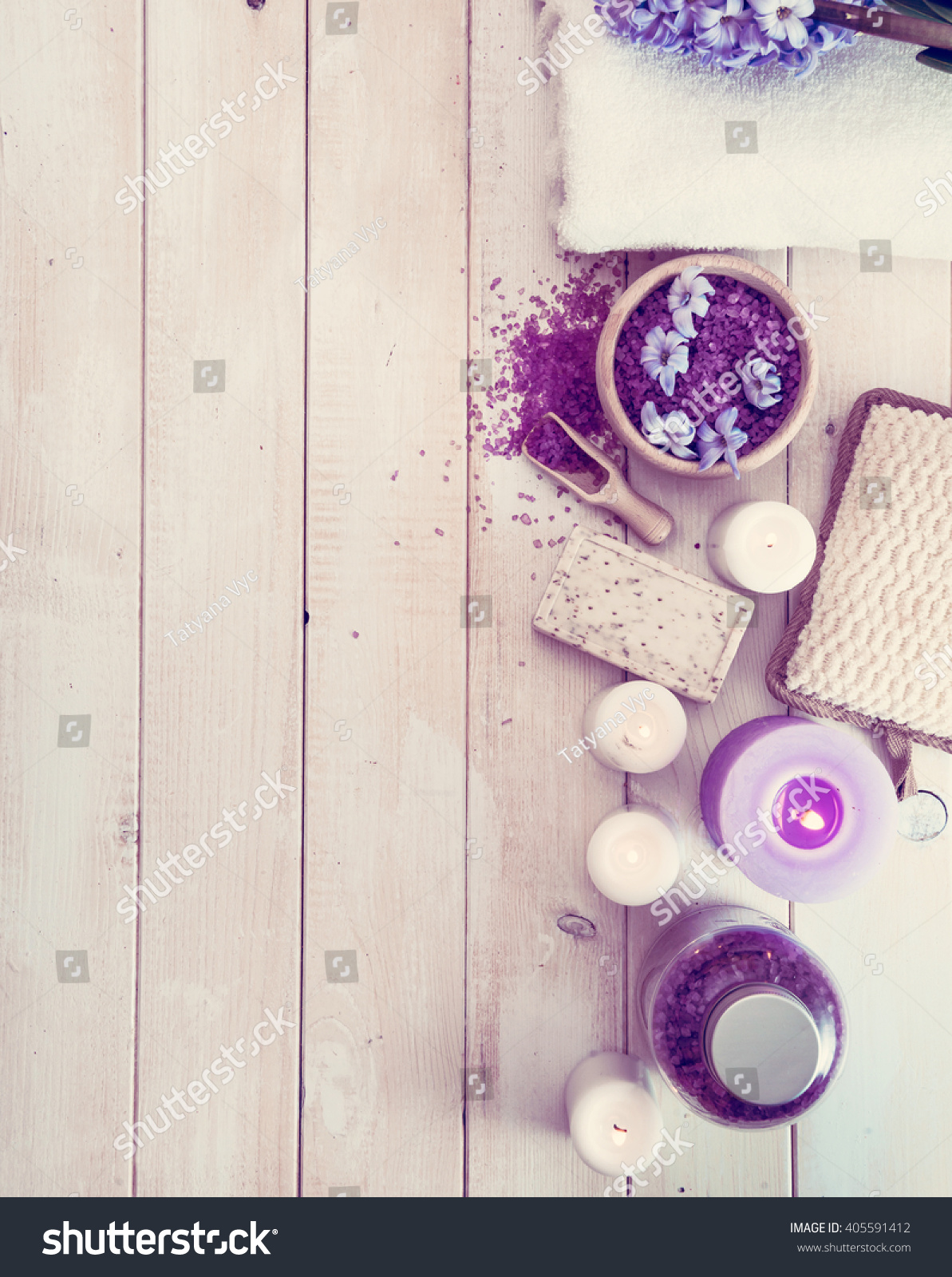 composition spa treatment on white wooden stock photo 405591412 shutterstock. Black Bedroom Furniture Sets. Home Design Ideas