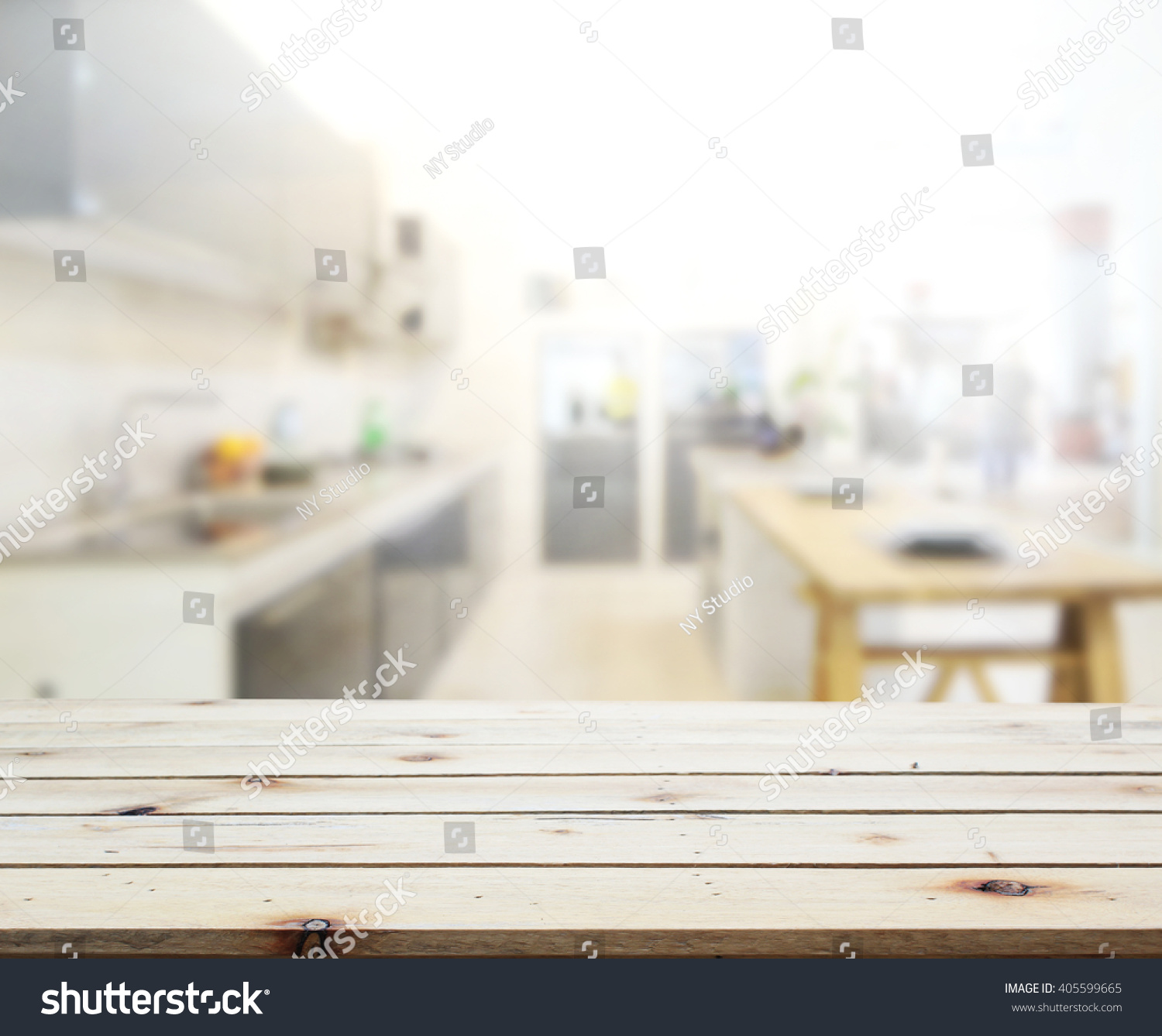 Kitchen Background Image: Table Top And Blur Kitchen Room Of The Background Stock