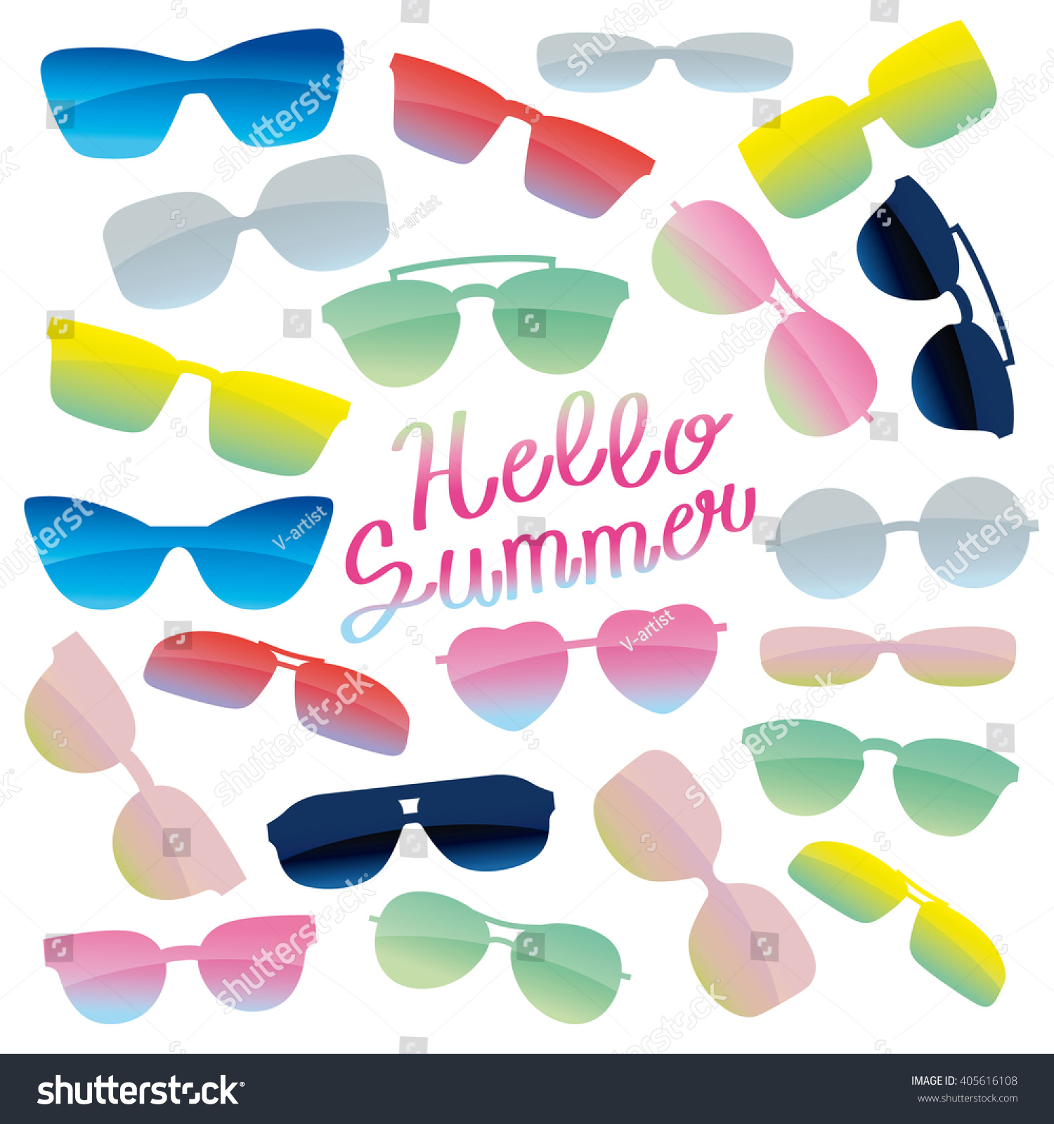 Superieur Glasses And Sunglasses Set And Text Hello Summer. Color Vector Illustration.