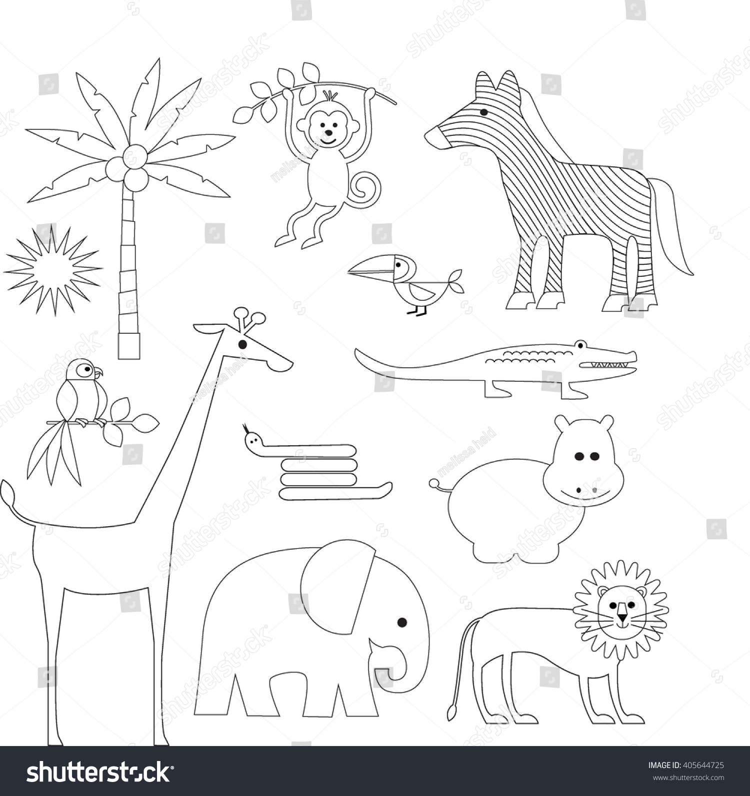 Jungle Animal Outline Clipart Stock Vector 405644725 ...