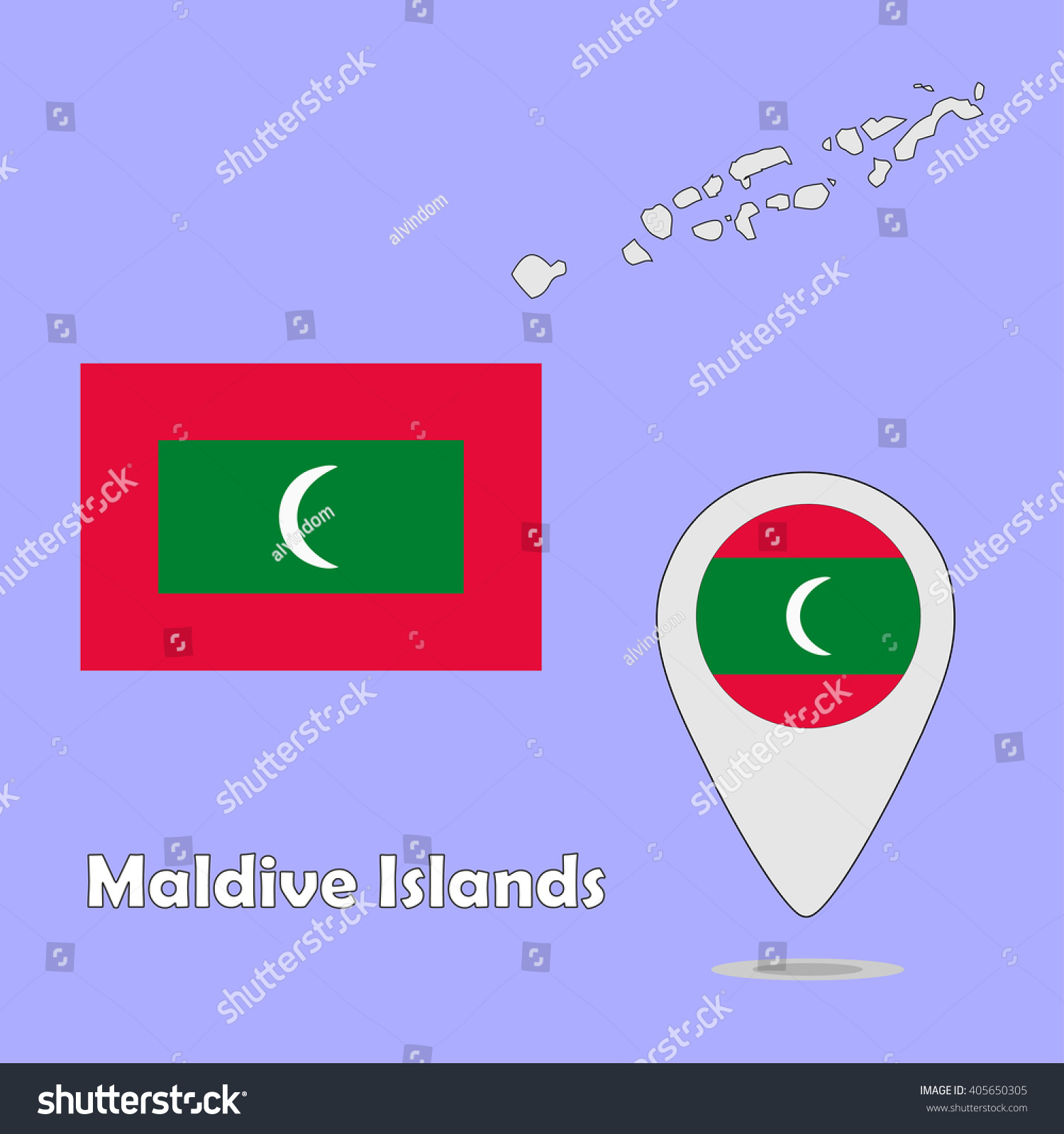 Pointer Map Flag Maldive Islands Stock Vector Royalty Free