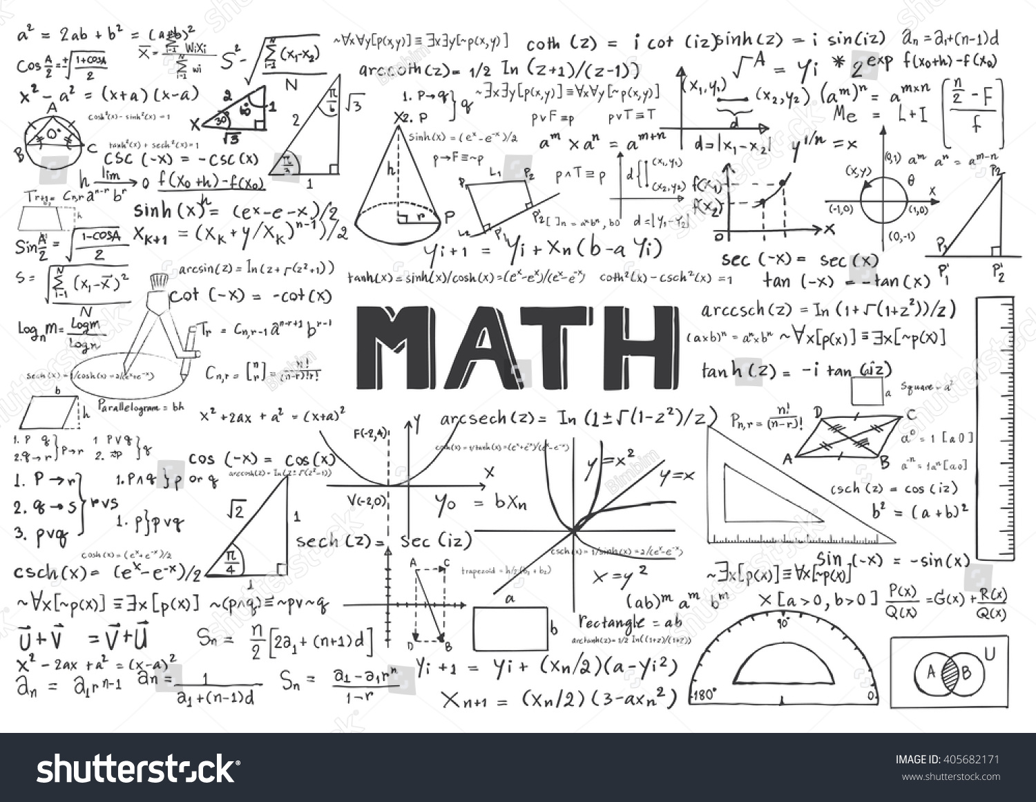 hand drawn math formulas background stock vector royalty free