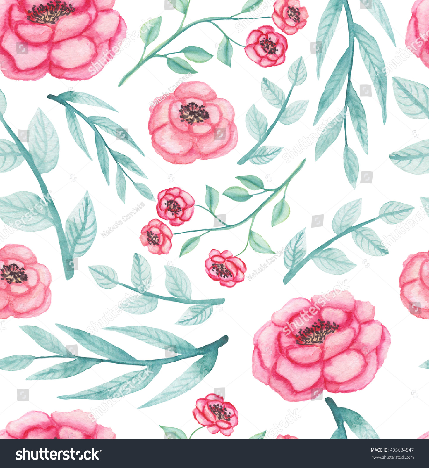 Watercolor Pink Flowers And Light Green Leaves Repeat Pattern Ez
