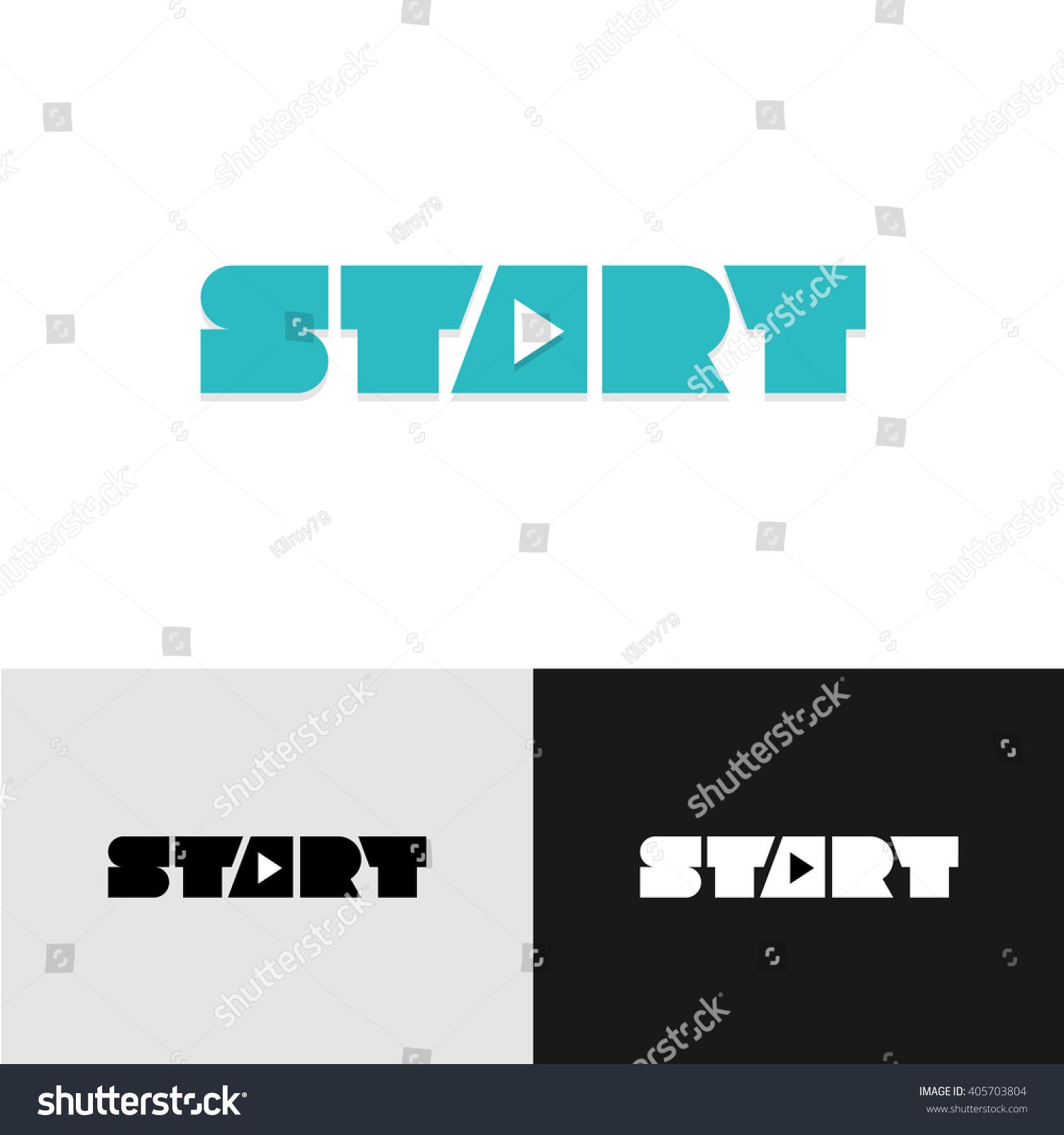 Start word text logo play triangle stock illustration 405703804 start word text logo with play triangle symbol inside buycottarizona Images