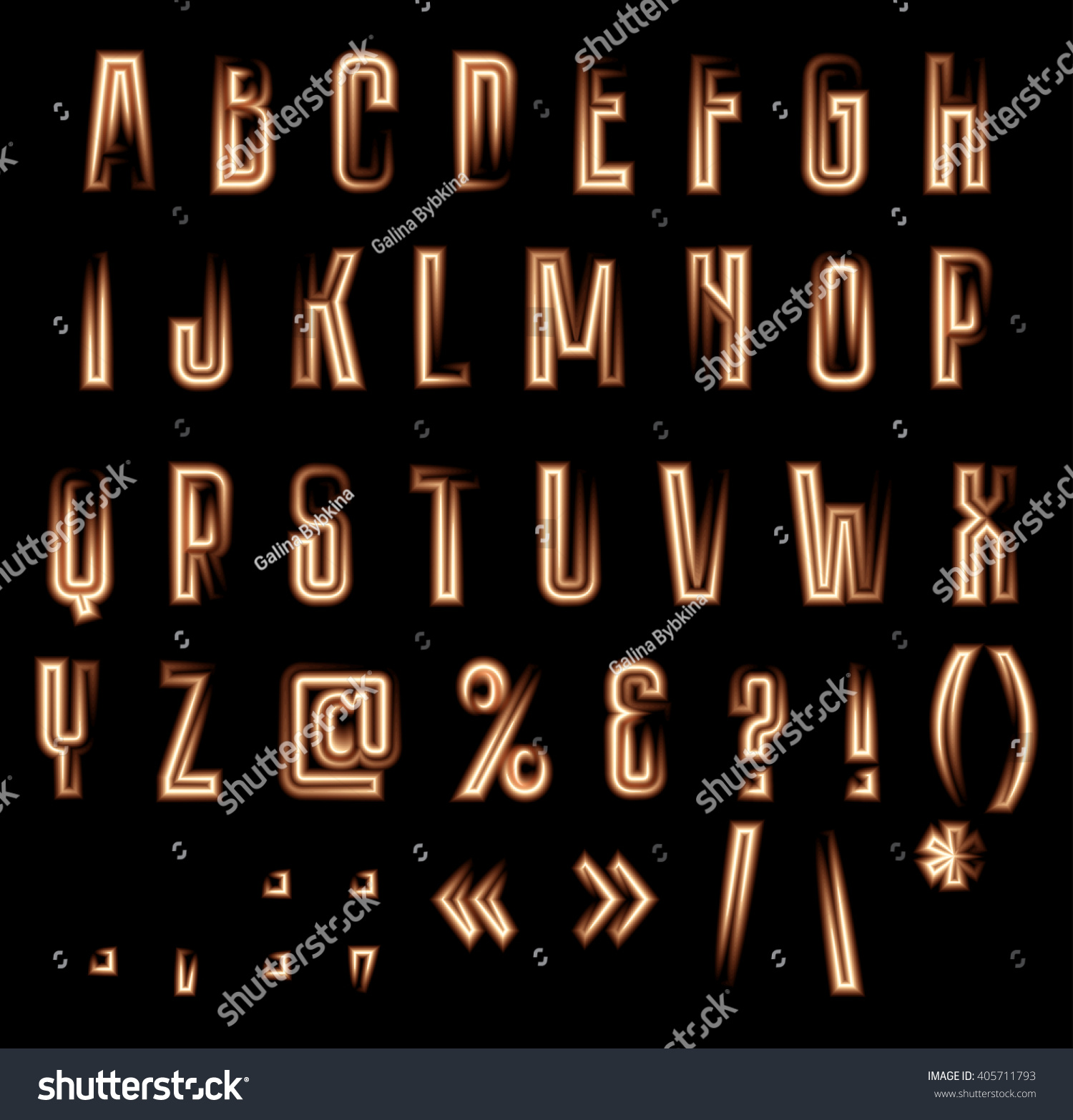 Stylish vector luminous alphabet neon letters stock vector 405711793 stylish vector luminous alphabet neon letters and symbols on black background buycottarizona Gallery