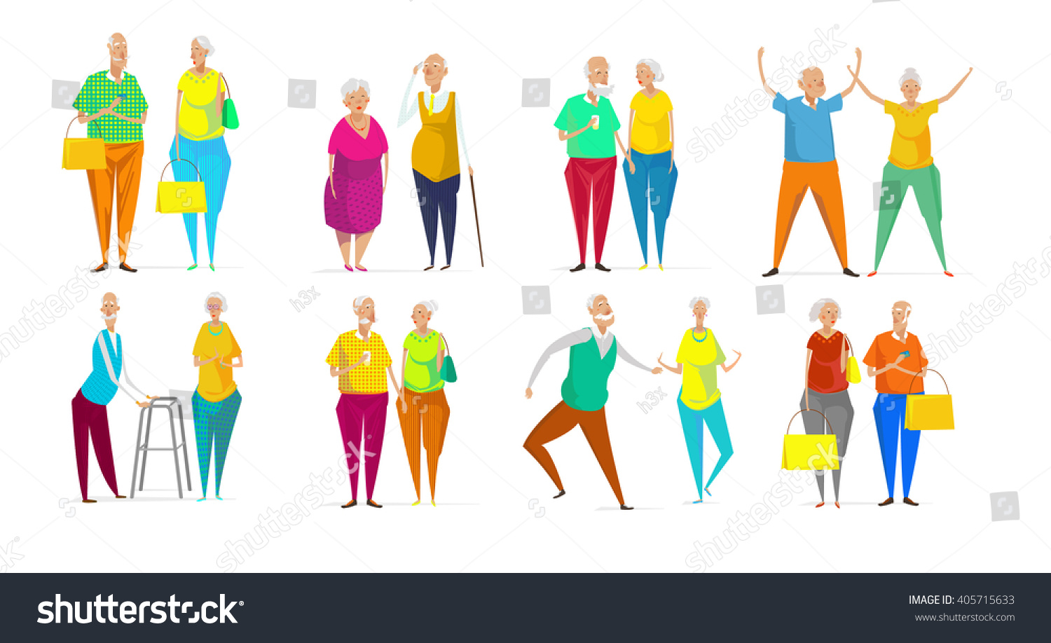 Senior couple vector illustration on yellow background Cute cartoon old characters walking dancing exercising shopping Flat style funny senior persons Elegant man and woman Stock vector