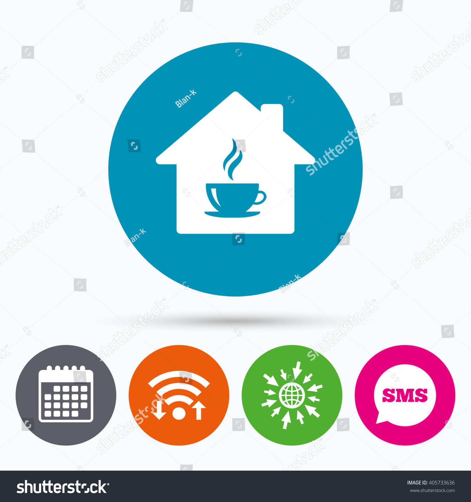 Wifi, Sms and calendar icons. Coffee shop icon. Hot coffee cup sign.