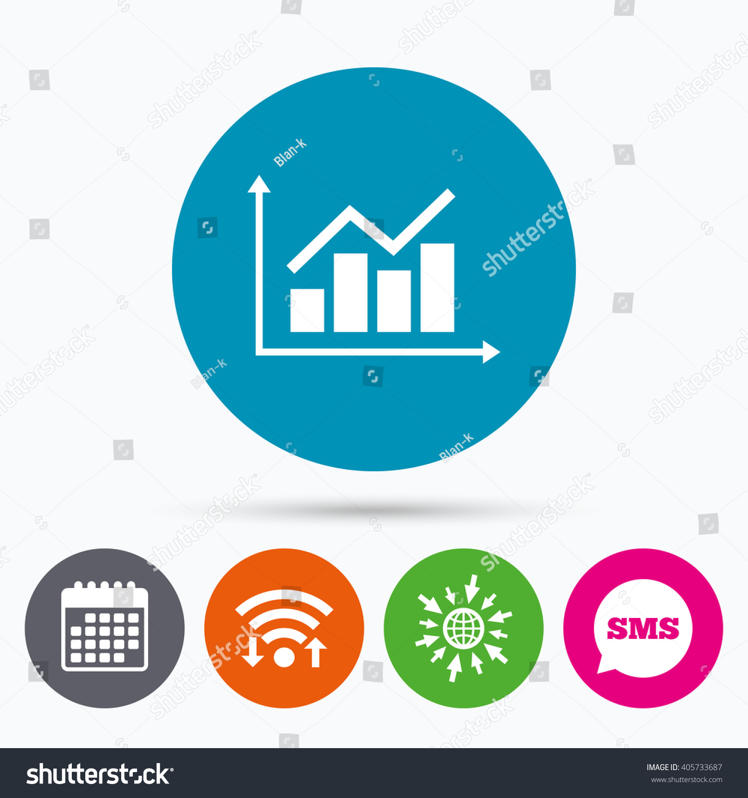 Wifi Sms and calendar icons Graph chart sign icon Diagram symbol Statistics Go to web globe
