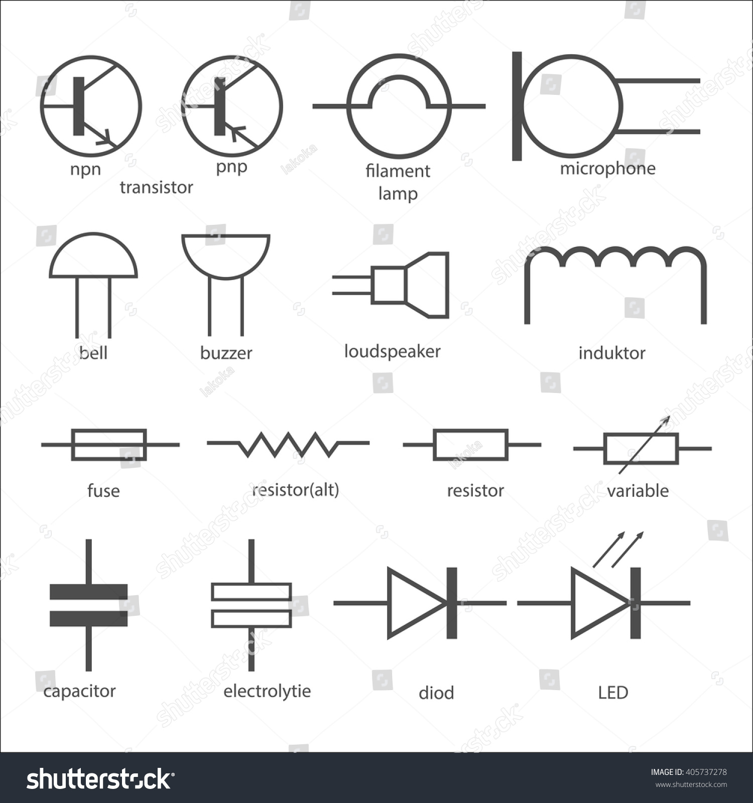 Electric Circuit Symbol Element Set Stock Vector 405737278 ...