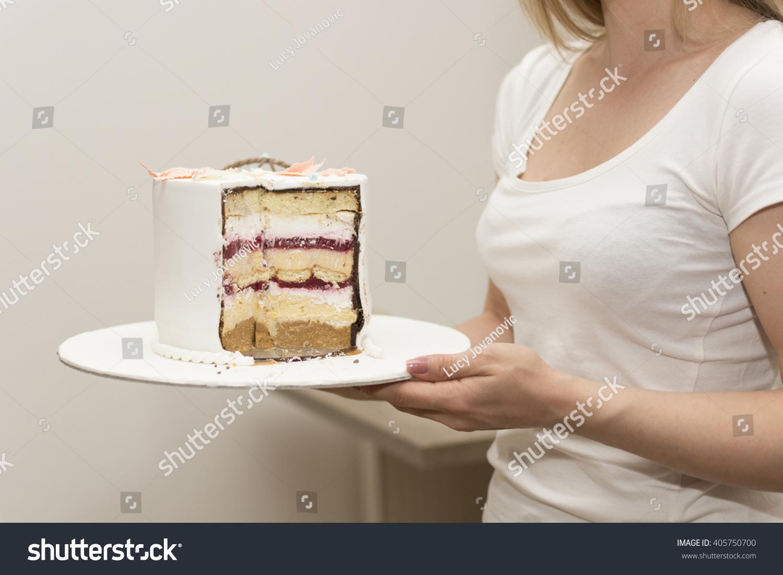 Young Girl Holding Birthday Cake Stock Photo 405750700