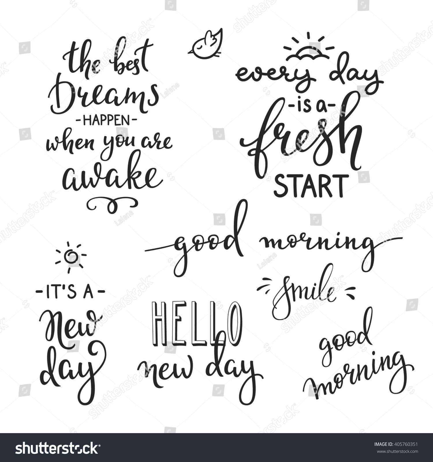 Lettering quotes set motivation life happiness stock