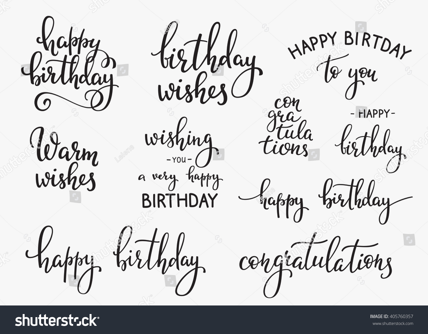 Happy Birthday Lettering Sign Quote Typography Set Calligraphy Design For Postcard Poster Graphic