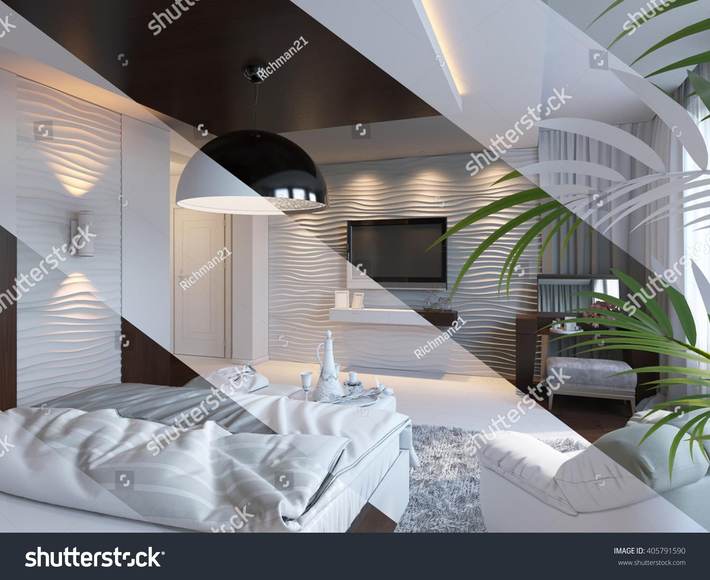 3d Illustration Bedroom Interior Design Contemporary Stock Illustration 405791590 - Shutterstock