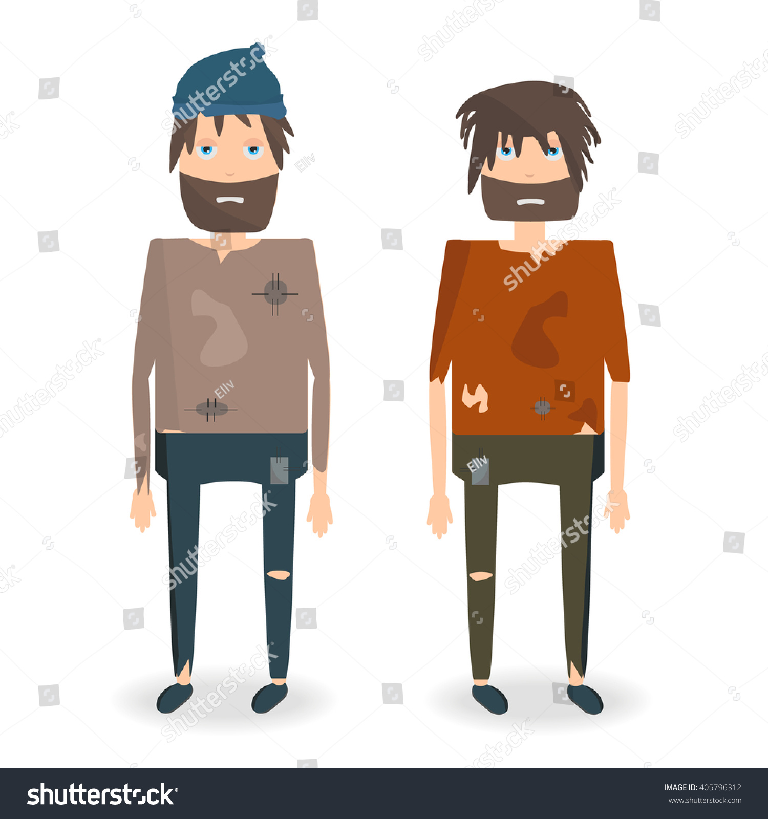 Cartoon Characters Clothes : Vector illustration two homeless people rags stock