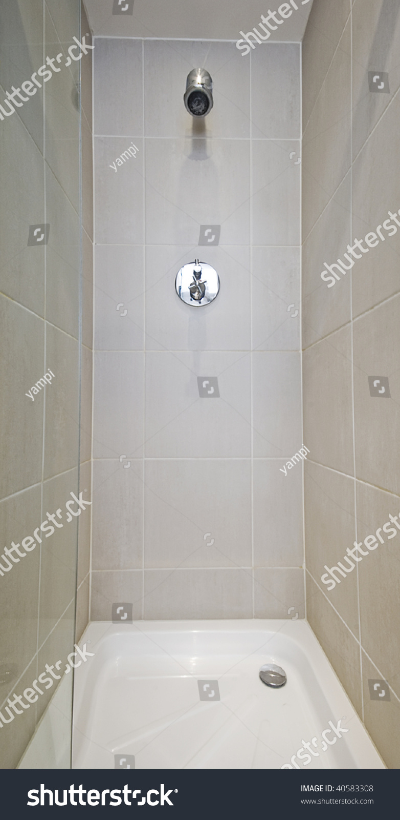 Corner Shower Cabin Glass Door Wall Stock Photo & Image (Royalty ...