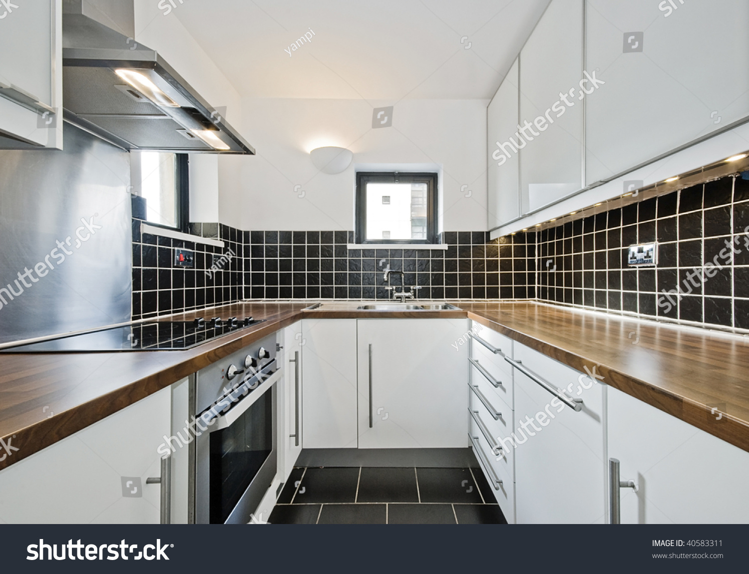 Modern Kitchen Black Ceramic Tiles Wooden Stock Photo