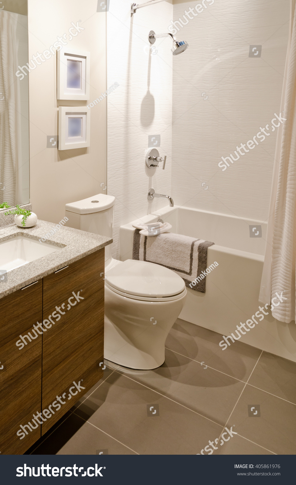 Nicely decorated modern washroom, bathroom with the toilet sit, sink ...