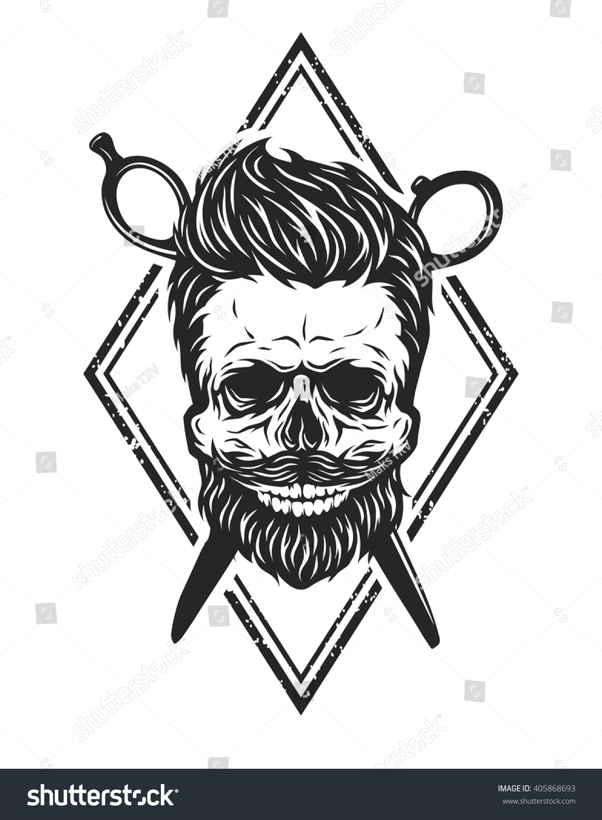 Skull With A Beard And A Stylish Haircut. The Symbol Of ...
