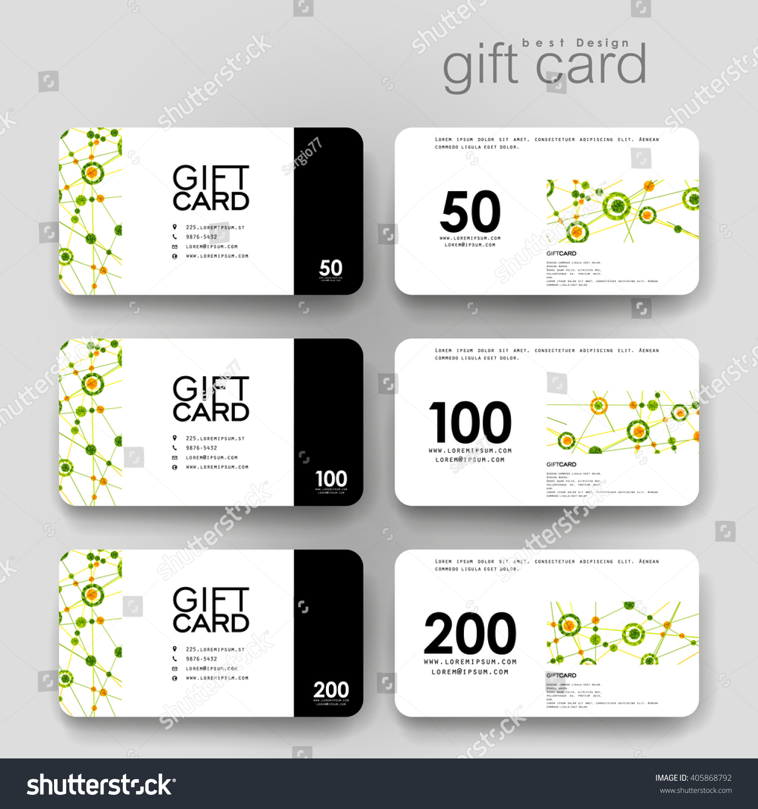 Gift Coupon Discount Card Template Dna Stock Vector (2018) 405868792 ...